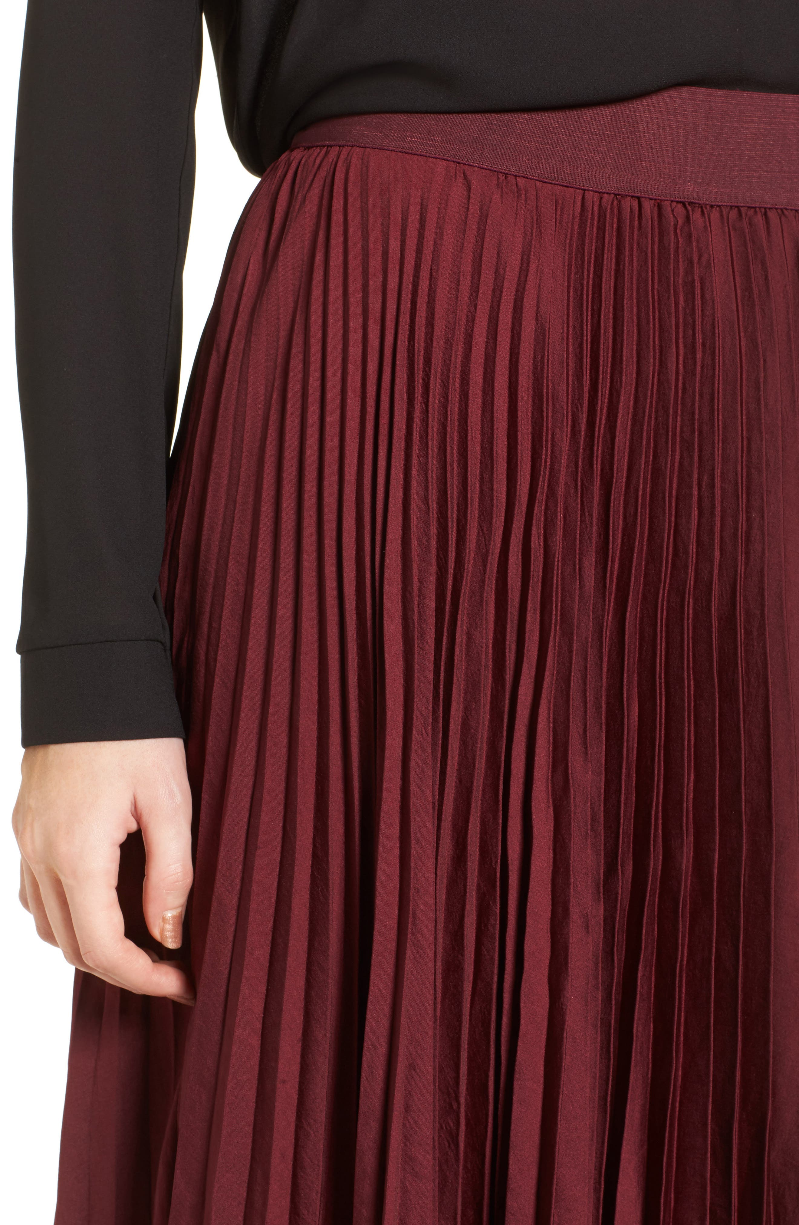 Pleated Midi Skirt,                             Alternate thumbnail 4, color,                             Burgundy