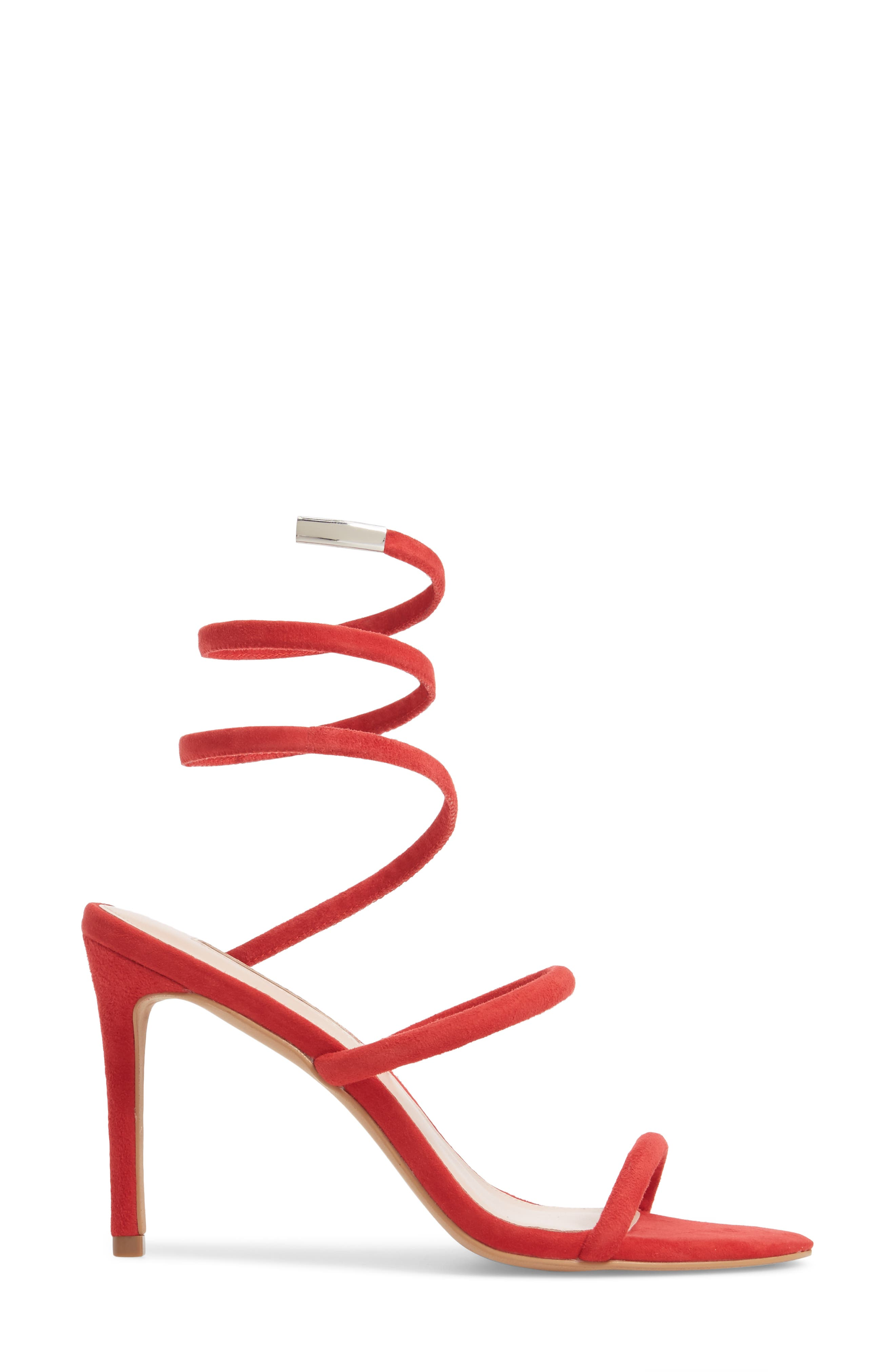 Joia Ankle Wrap Sandal,                             Alternate thumbnail 3, color,                             Rouge Suede