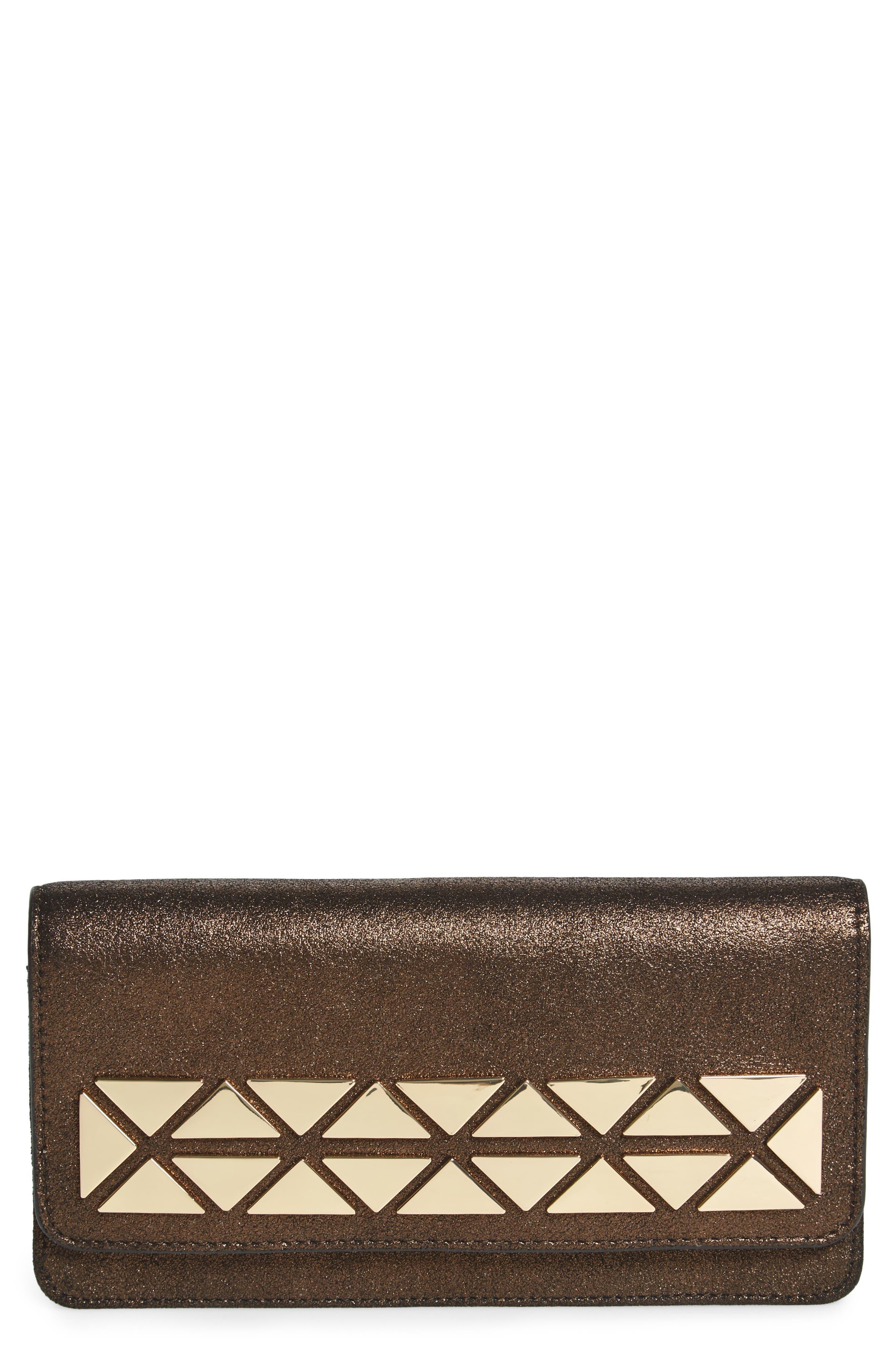 Fit Studded Leather Wallet,                         Main,                         color, Antique Bronze