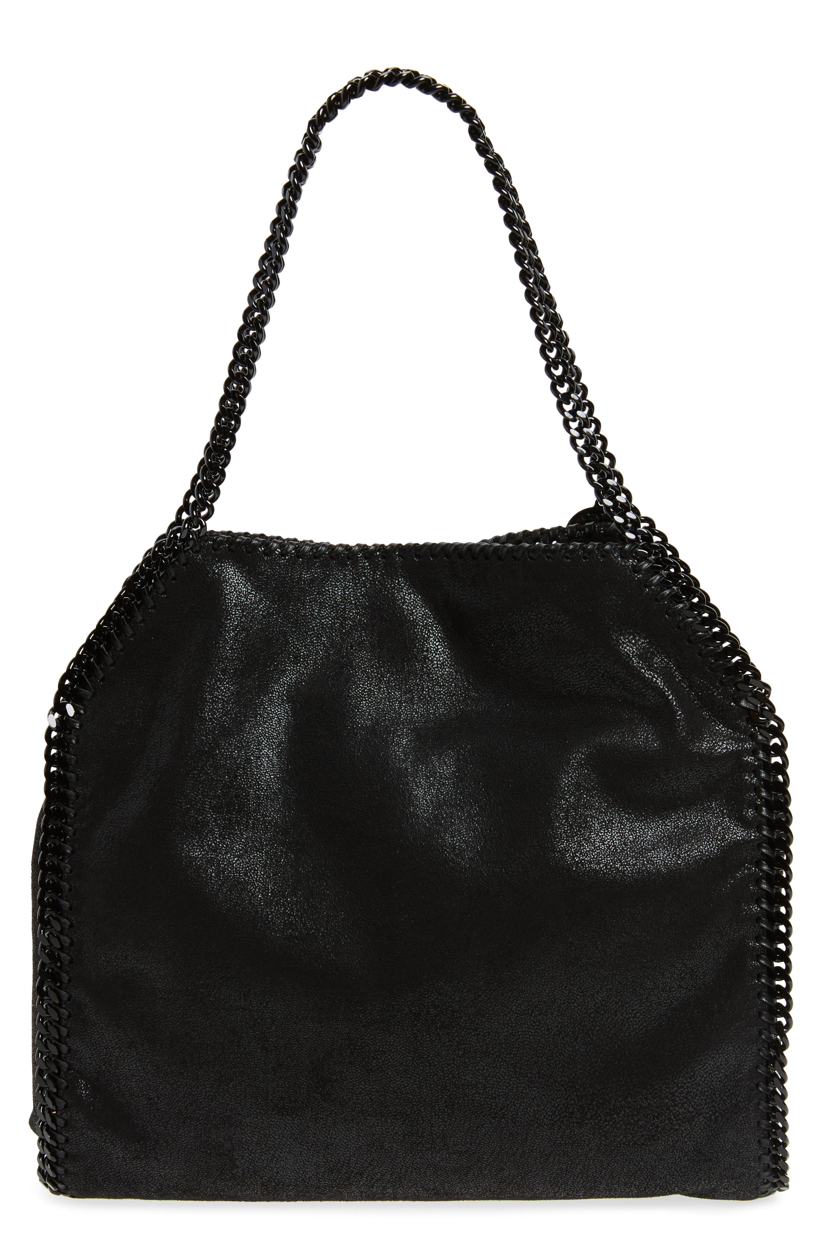 Small Falabella Shaggy Deer Faux Leather Tote,                             Alternate thumbnail 3, color,                             Black Out