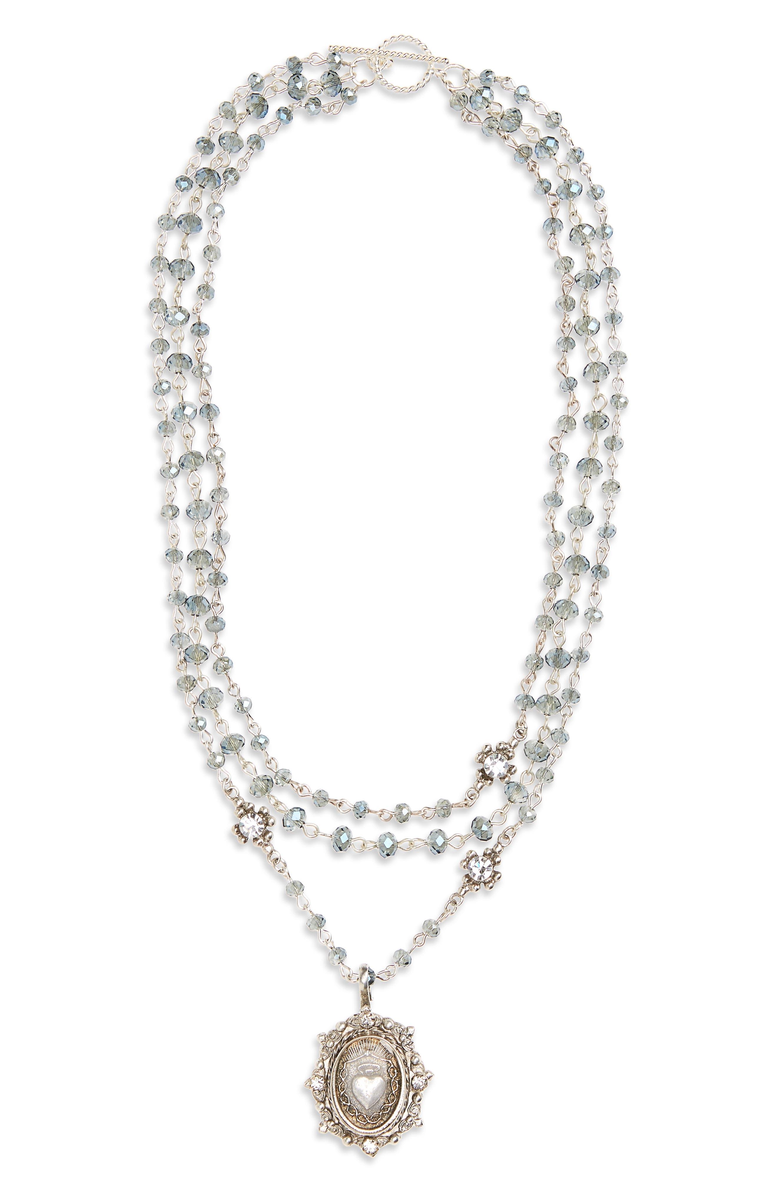 Heart Magdalena Rosary Necklace,                         Main,                         color, Silver/ Montana Ab