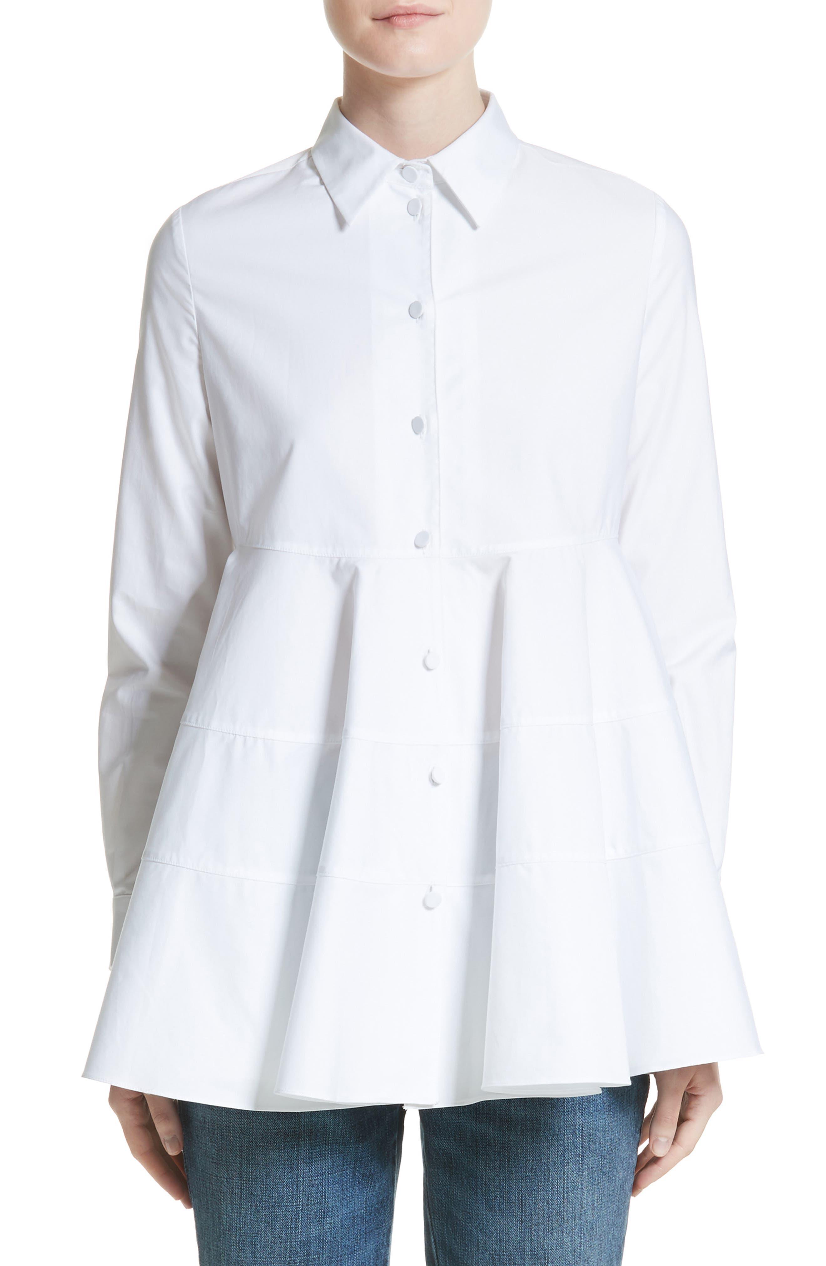 Flare Poplin Top,                         Main,                         color, White