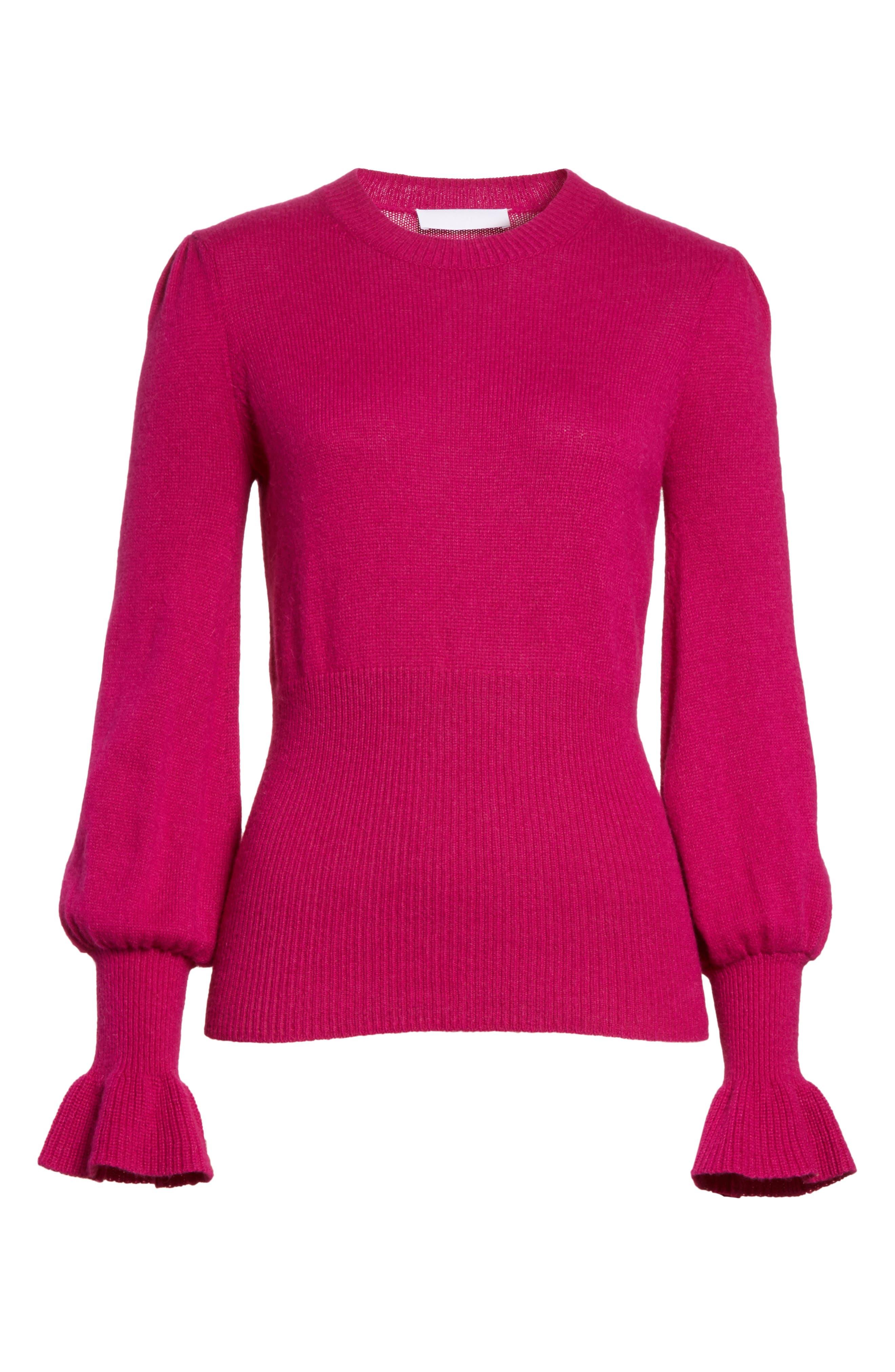 Flare Cuff Alpaca Blend Sweater,                             Alternate thumbnail 7, color,                             Magenta