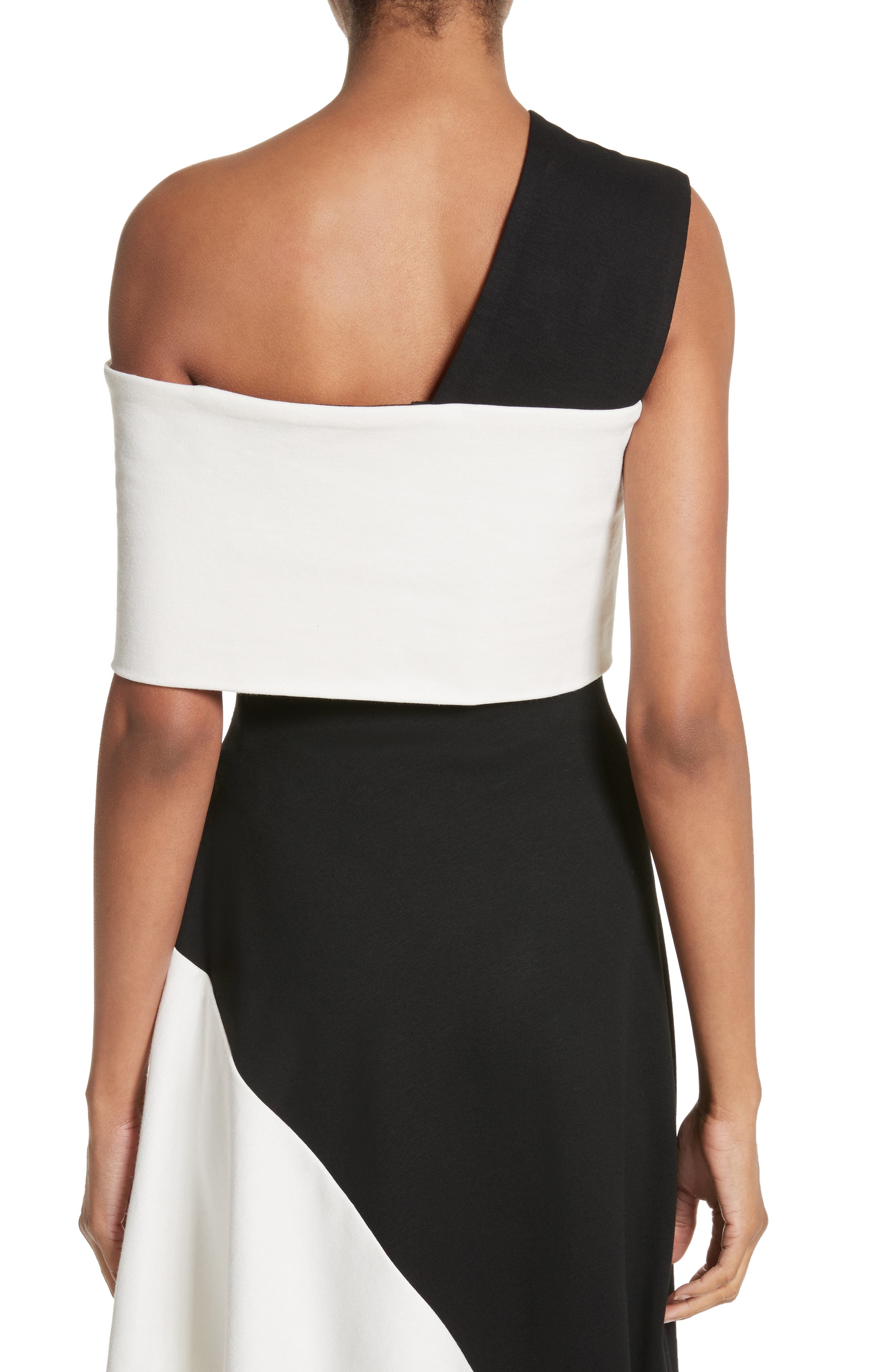 One-Shoulder Jersey Top,                             Alternate thumbnail 2, color,                             Black/ Ivory
