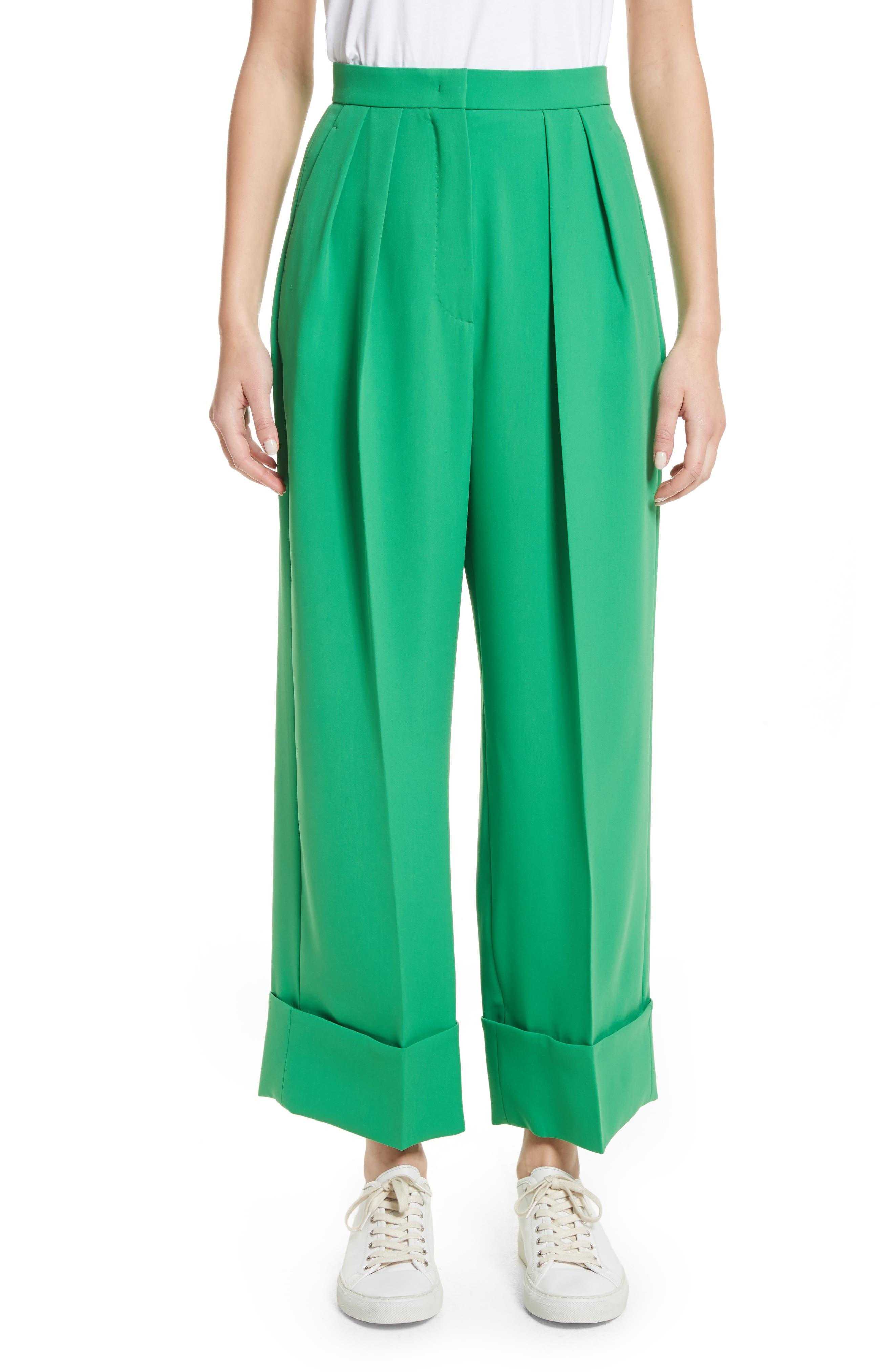 High Waist Crop Pants,                         Main,                         color, Green