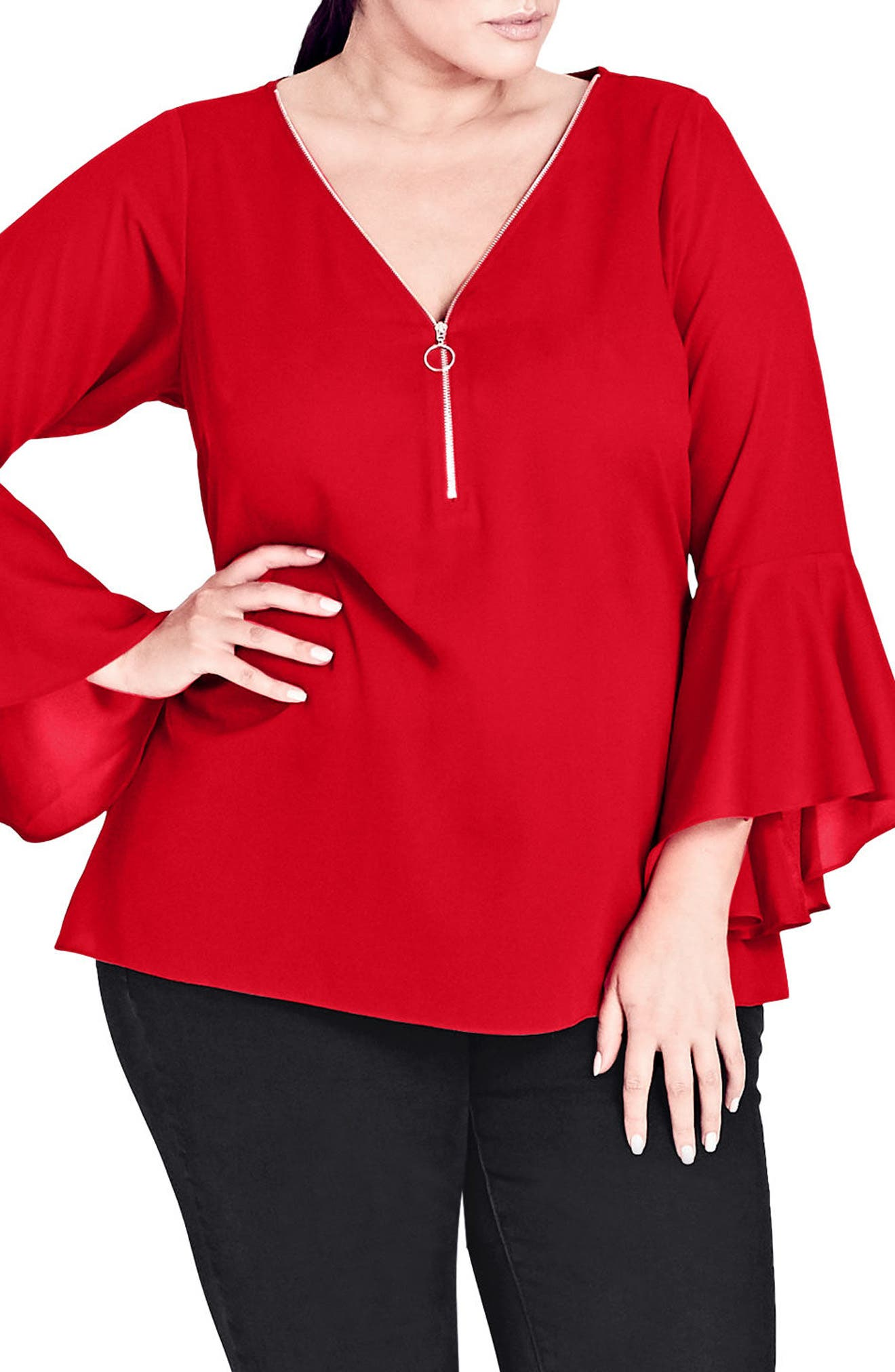 City Chic Bell Cuff Zip Top (Plus Size)