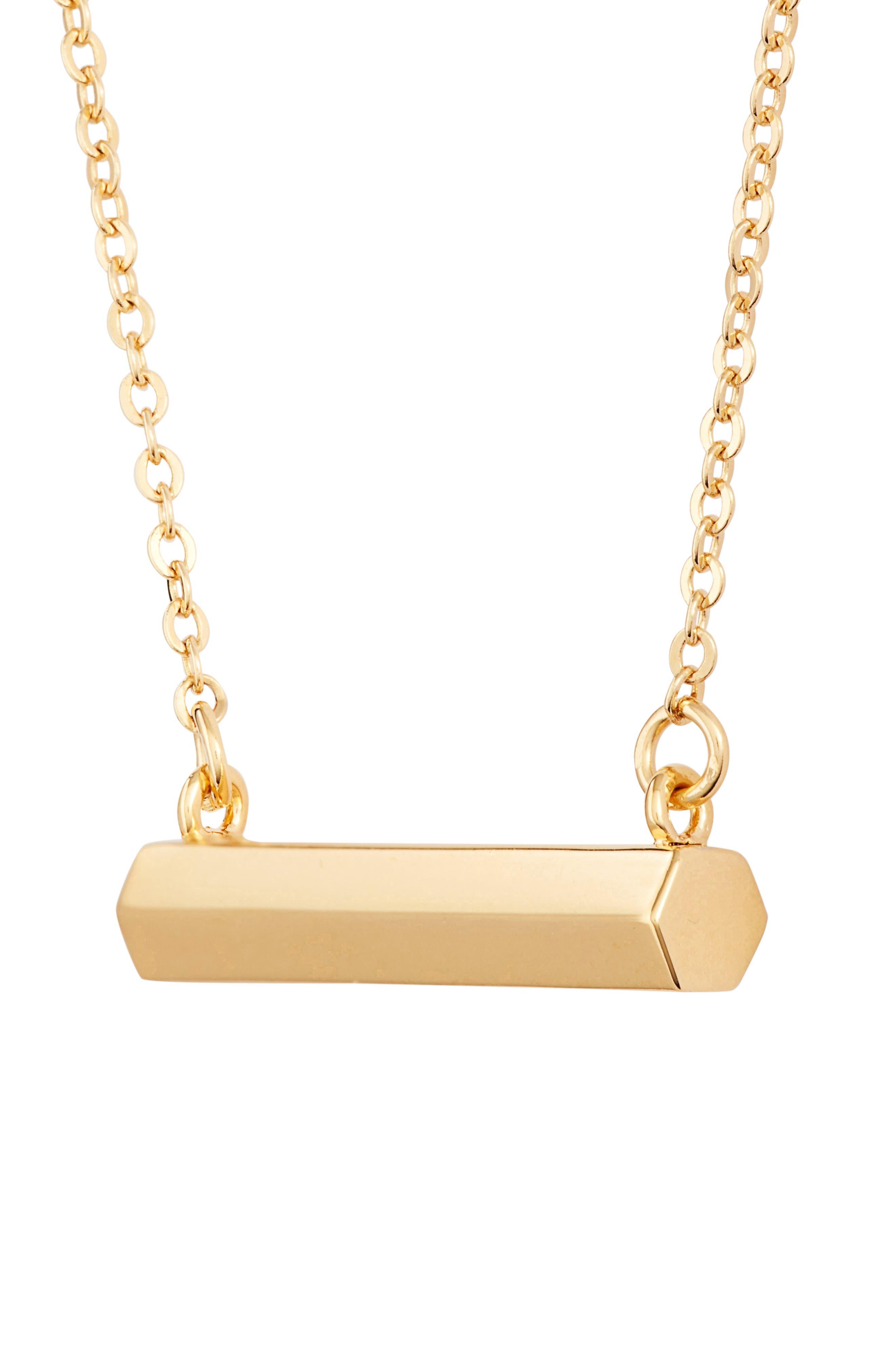 Hexagon Shaped Bar Pendant Necklace,                             Alternate thumbnail 3, color,                             Gold