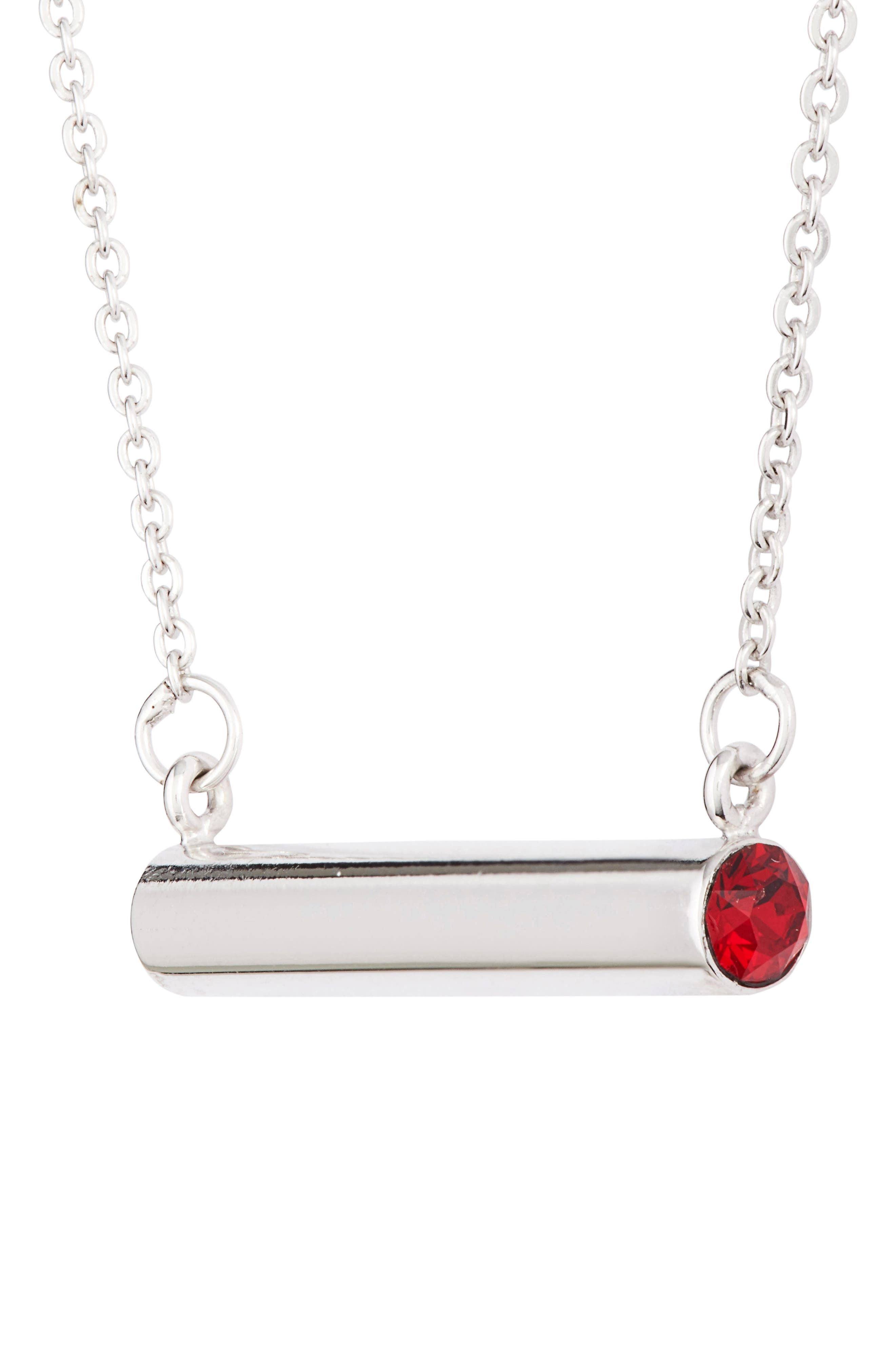 January Crystal Bar Pendant Necklace,                             Alternate thumbnail 3, color,                             Silver