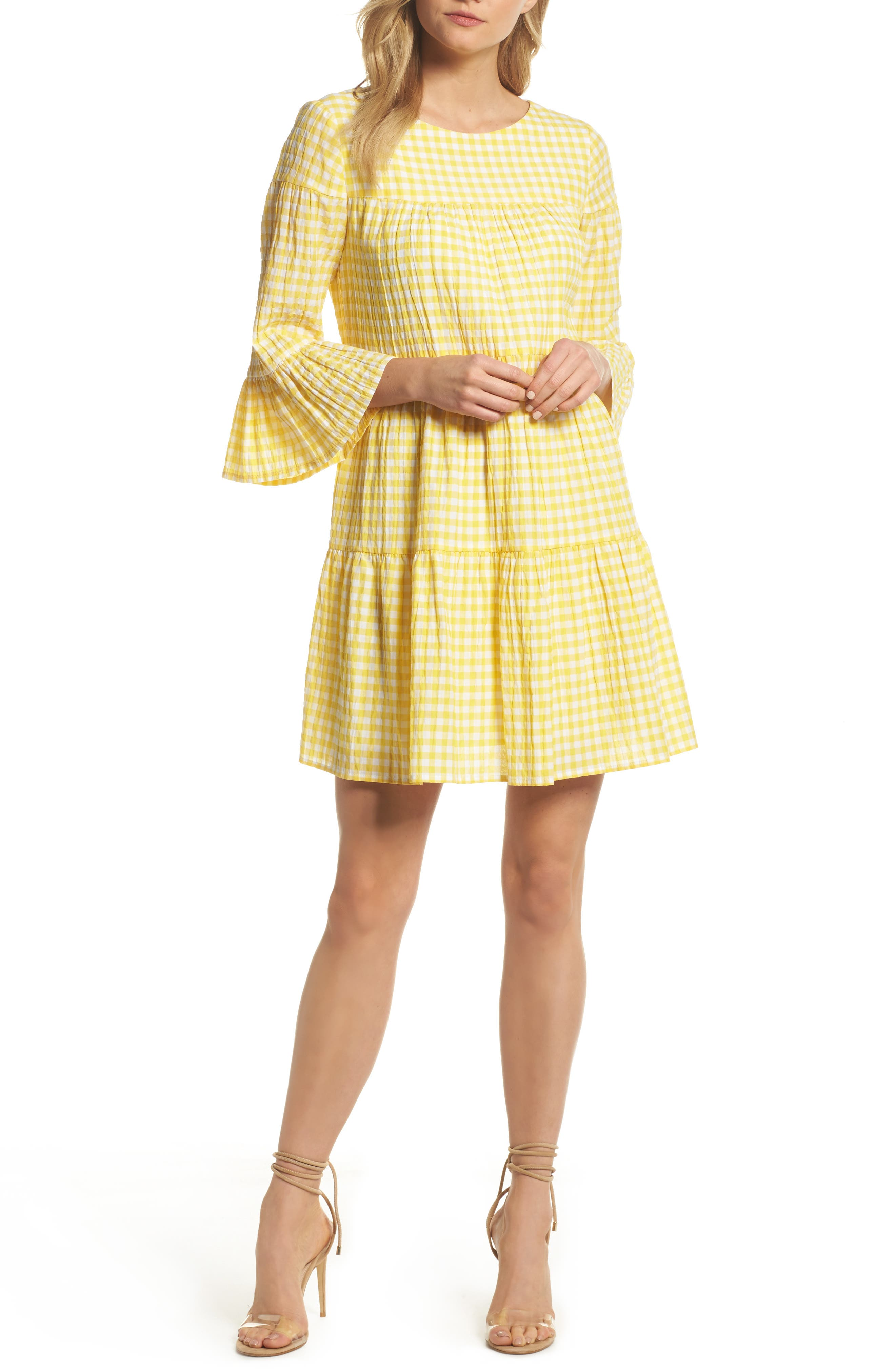 Gingham Swing Dress,                         Main,                         color, Yellow/ White
