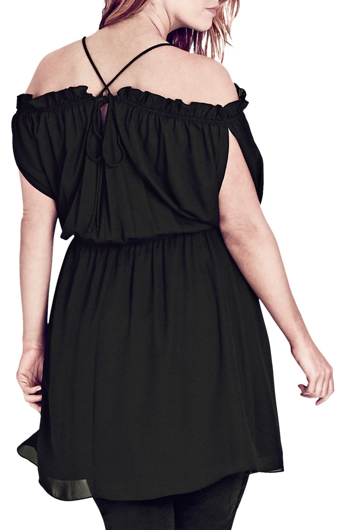 Alternate Image 2  - City Chic Strapped Up Tunic (Plus Size)