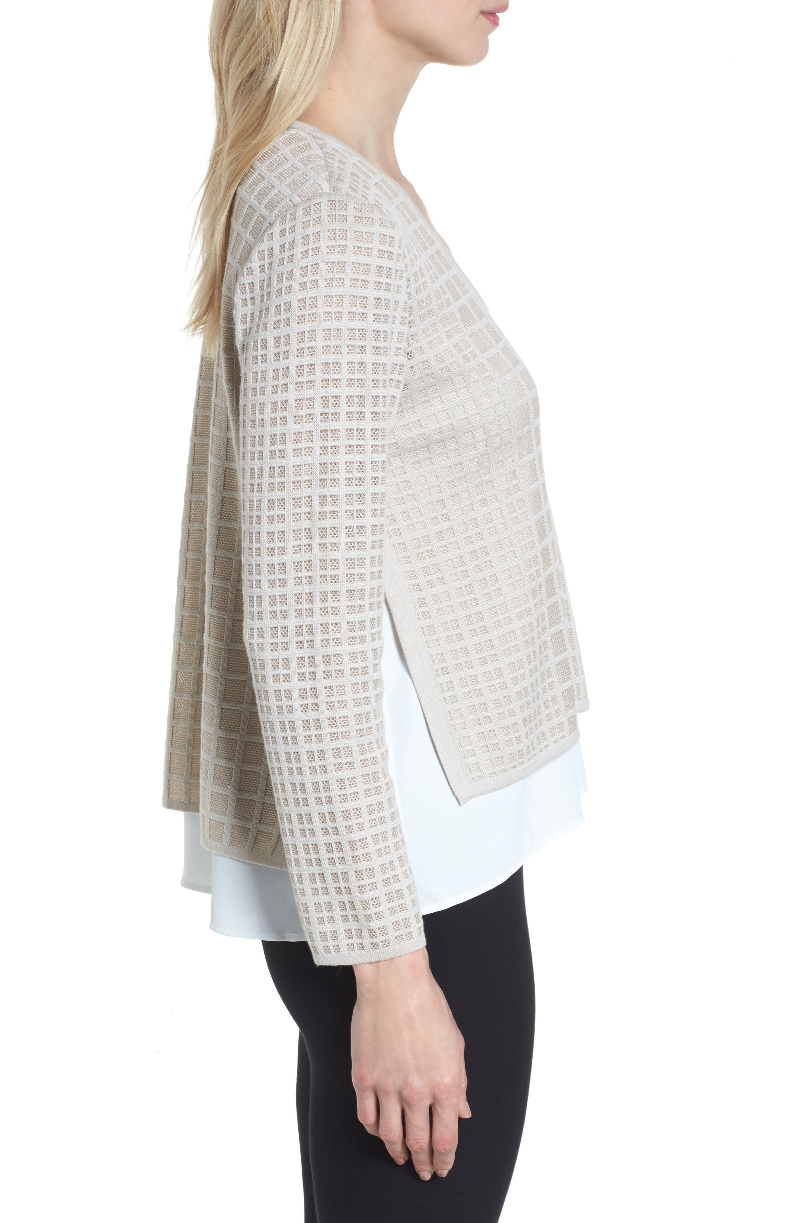 Alternate Image 3  - Ming Wang V-Neck Windowpane Sweater
