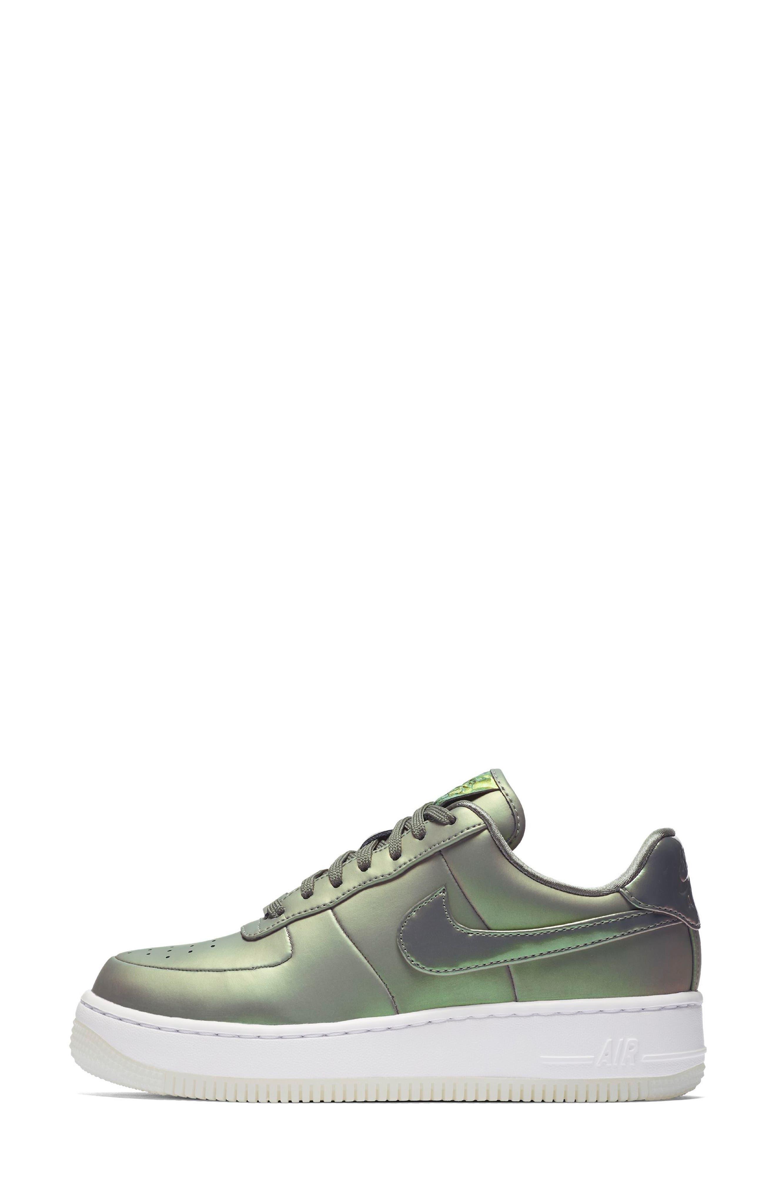 Air Force 1 Upstep Premium LX Shoe,                             Alternate thumbnail 3, color,                             Dark Stucco/ Stucco/ White