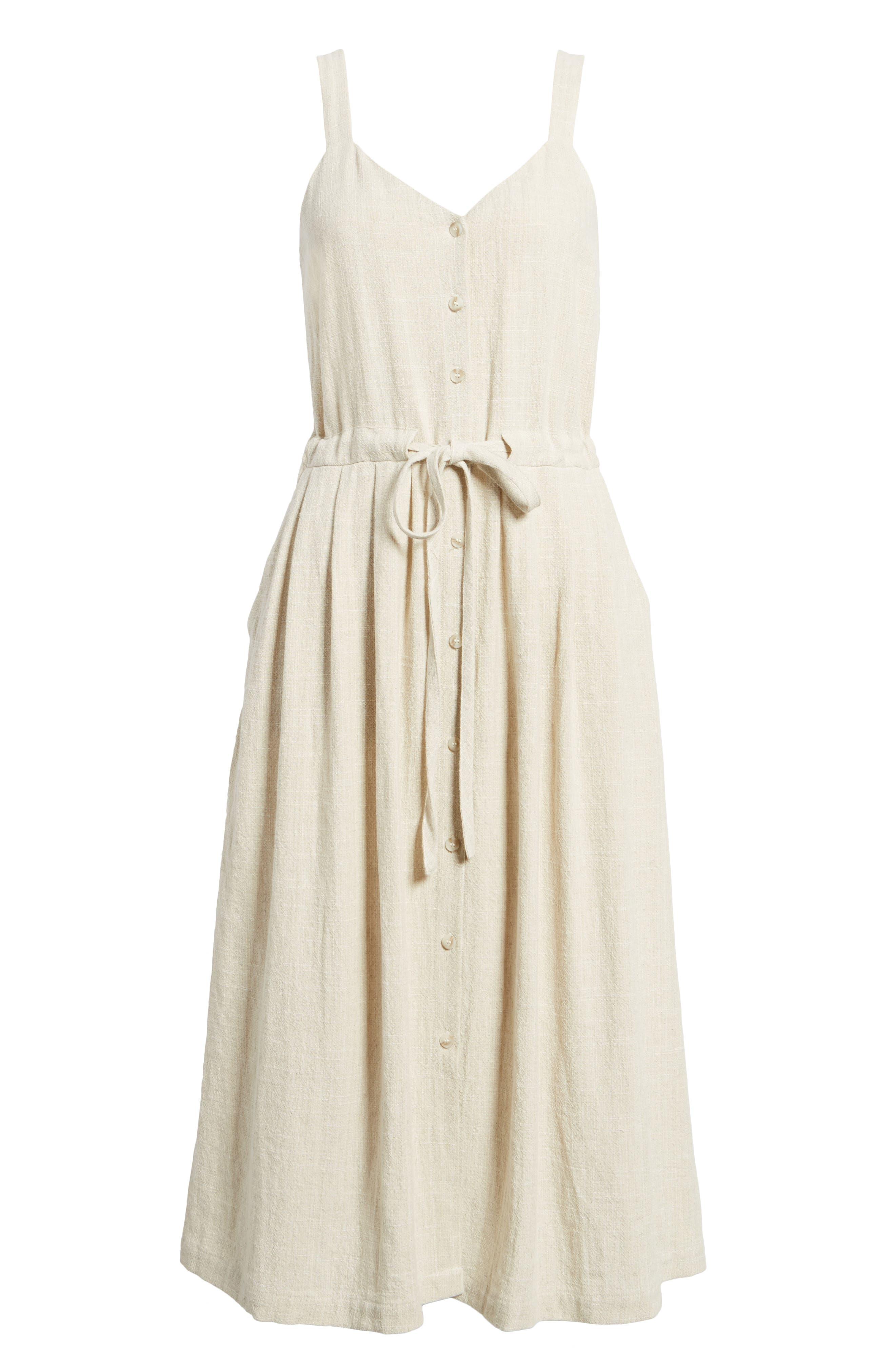 Button Up Drawstring Midi Dress,                             Alternate thumbnail 7, color,                             Natural