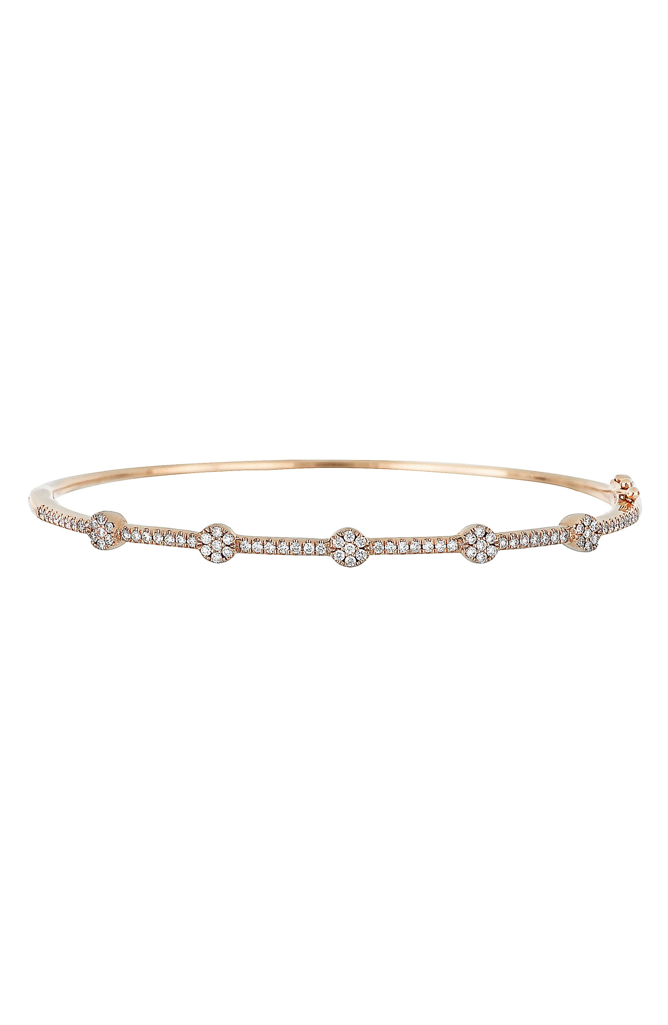 Diamond Station Bangle,                             Main thumbnail 1, color,                             Rose Gold