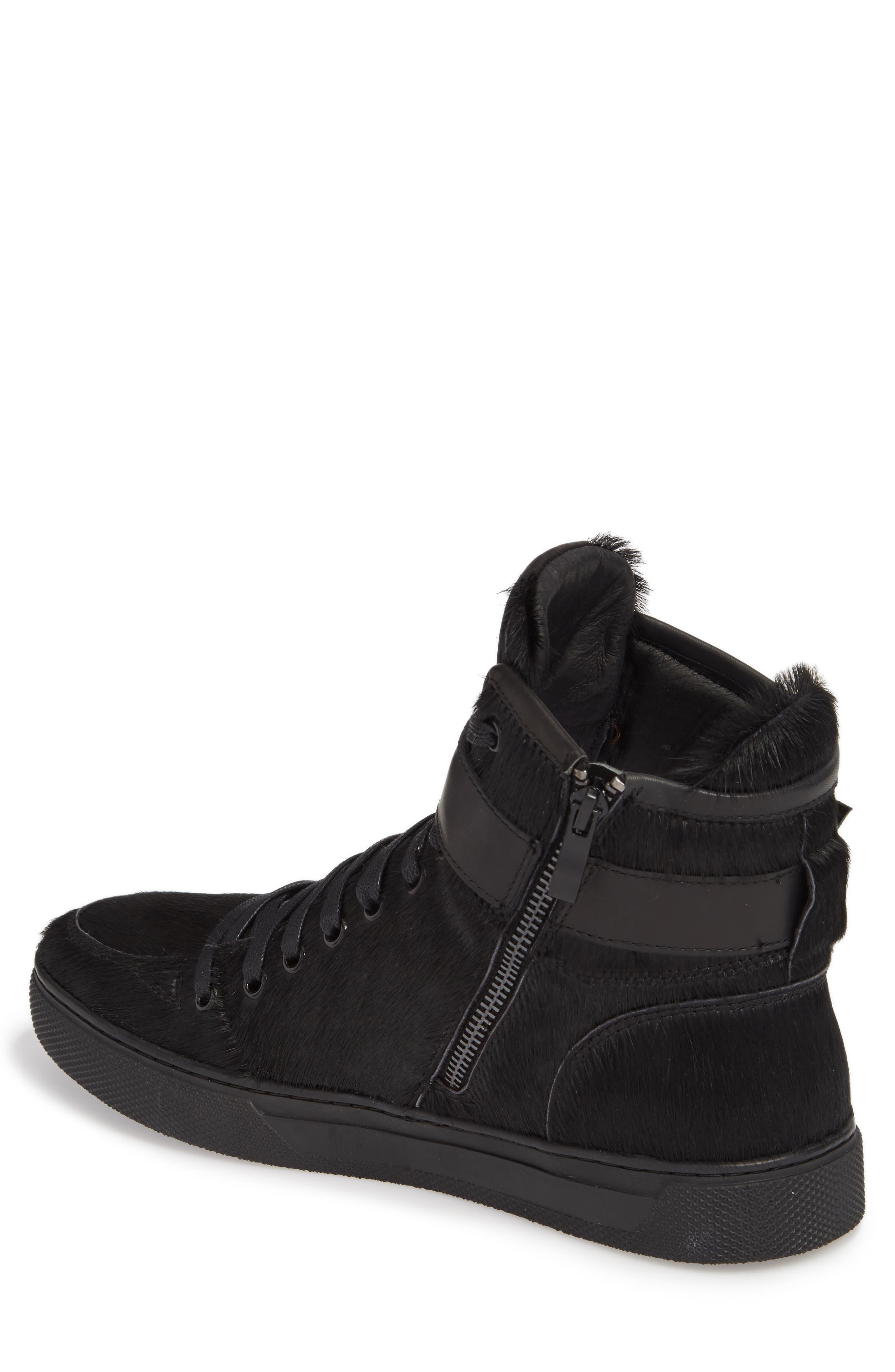 Sullivan Genuine Calf Hair High Top Sneaker,                             Alternate thumbnail 2, color,                             Black Fur Leather