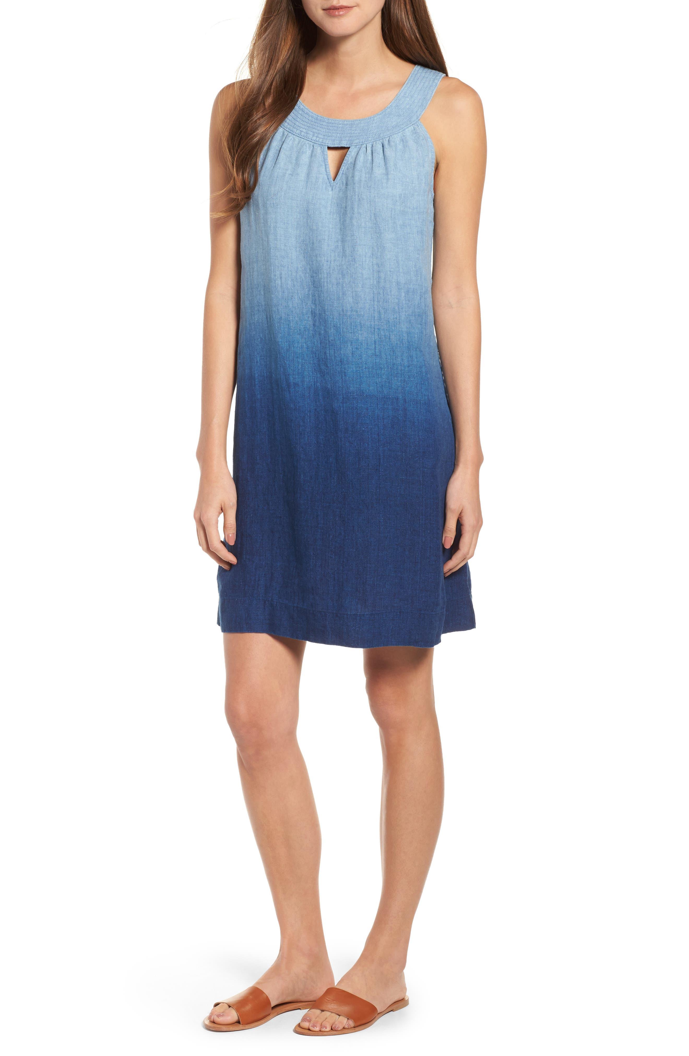 Indigo Dip Dyed Shift Dress,                             Main thumbnail 1, color,                             Dark Indigo Wash