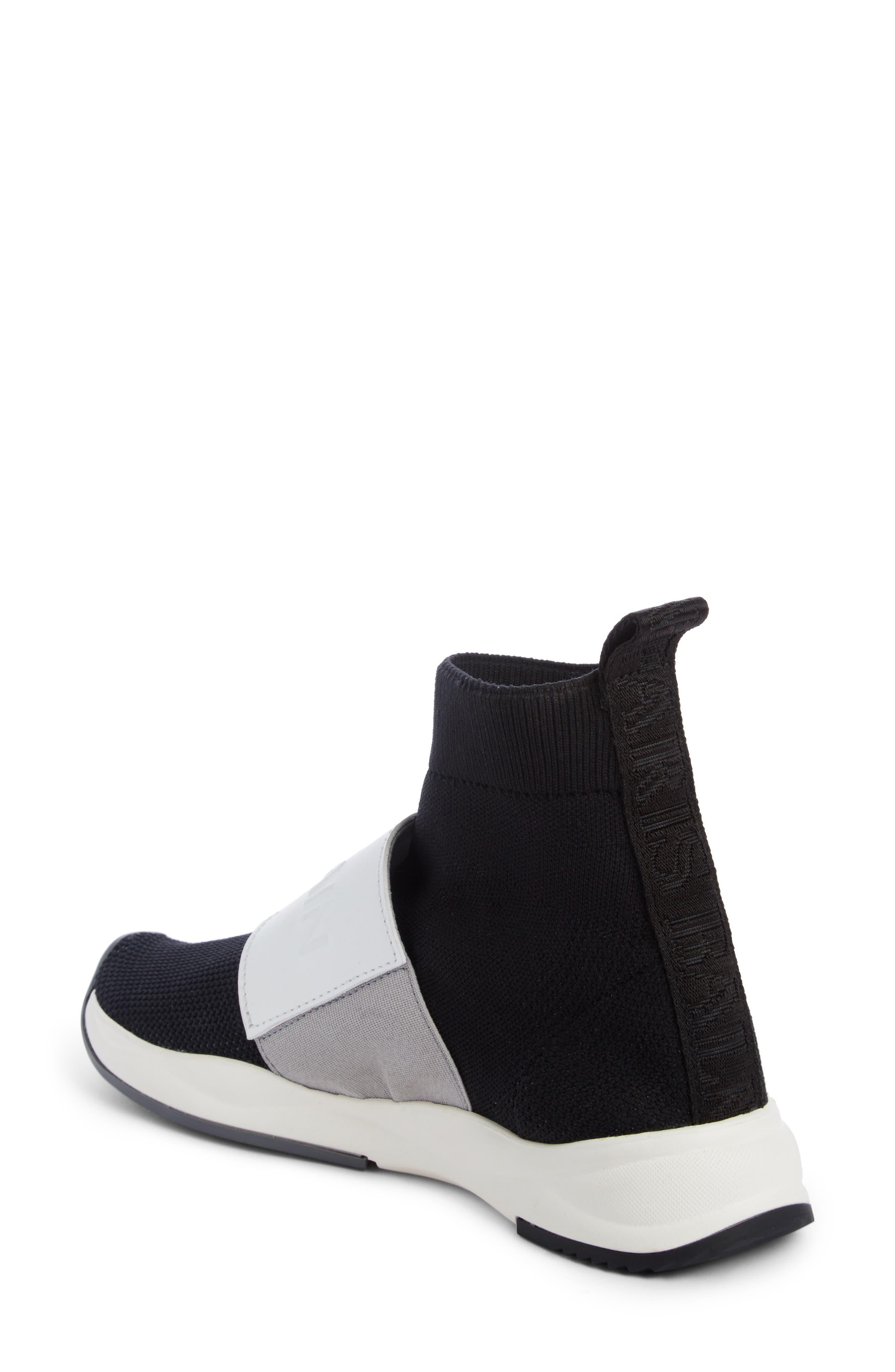 Cameron Logo Strap Sock Sneaker,                             Alternate thumbnail 2, color,                             Black/ White