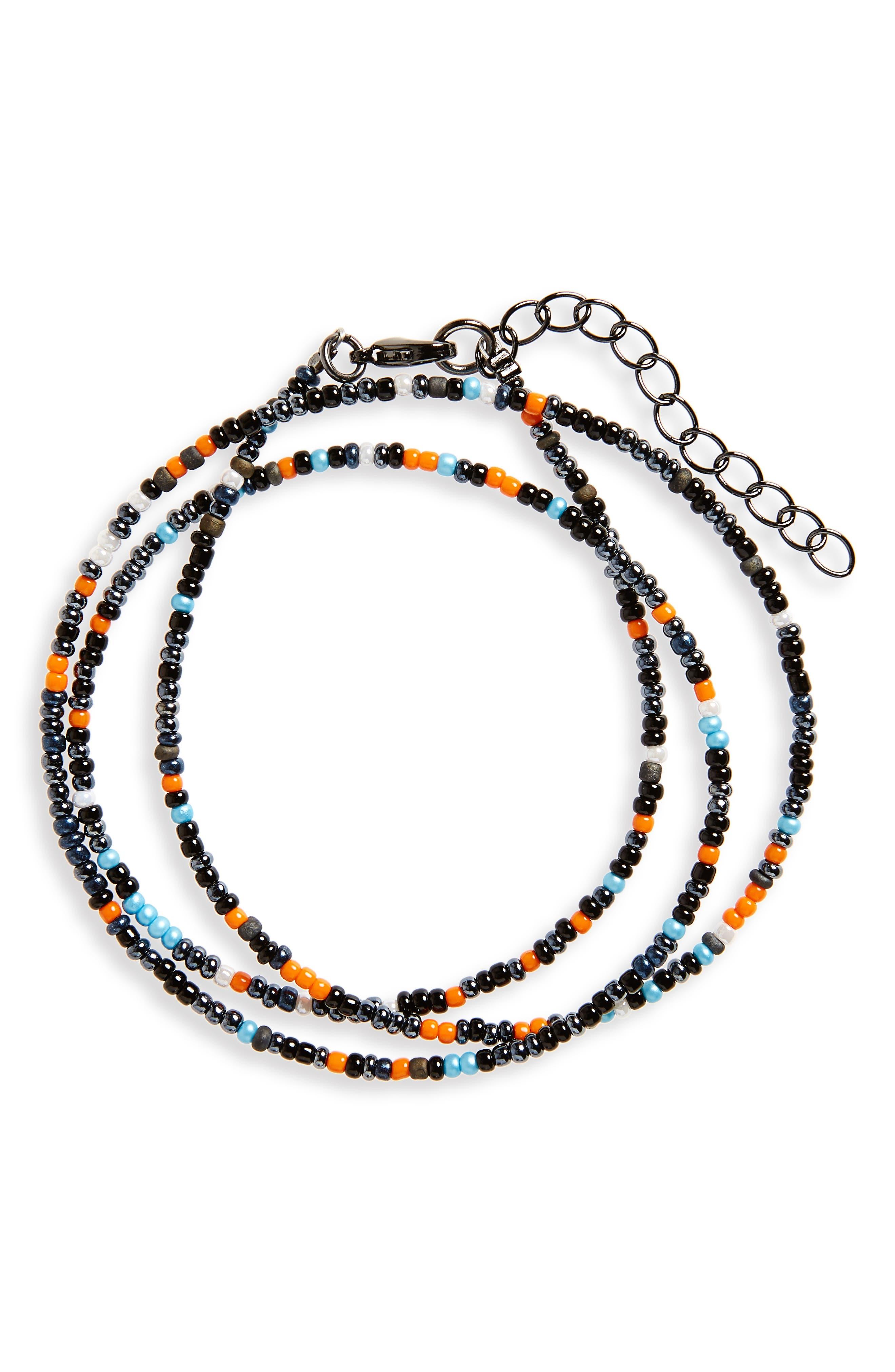 Finn & Taylor Seed Bead Triple Wrap Bracelet,                             Main thumbnail 1, color,                             Navy/ Orange