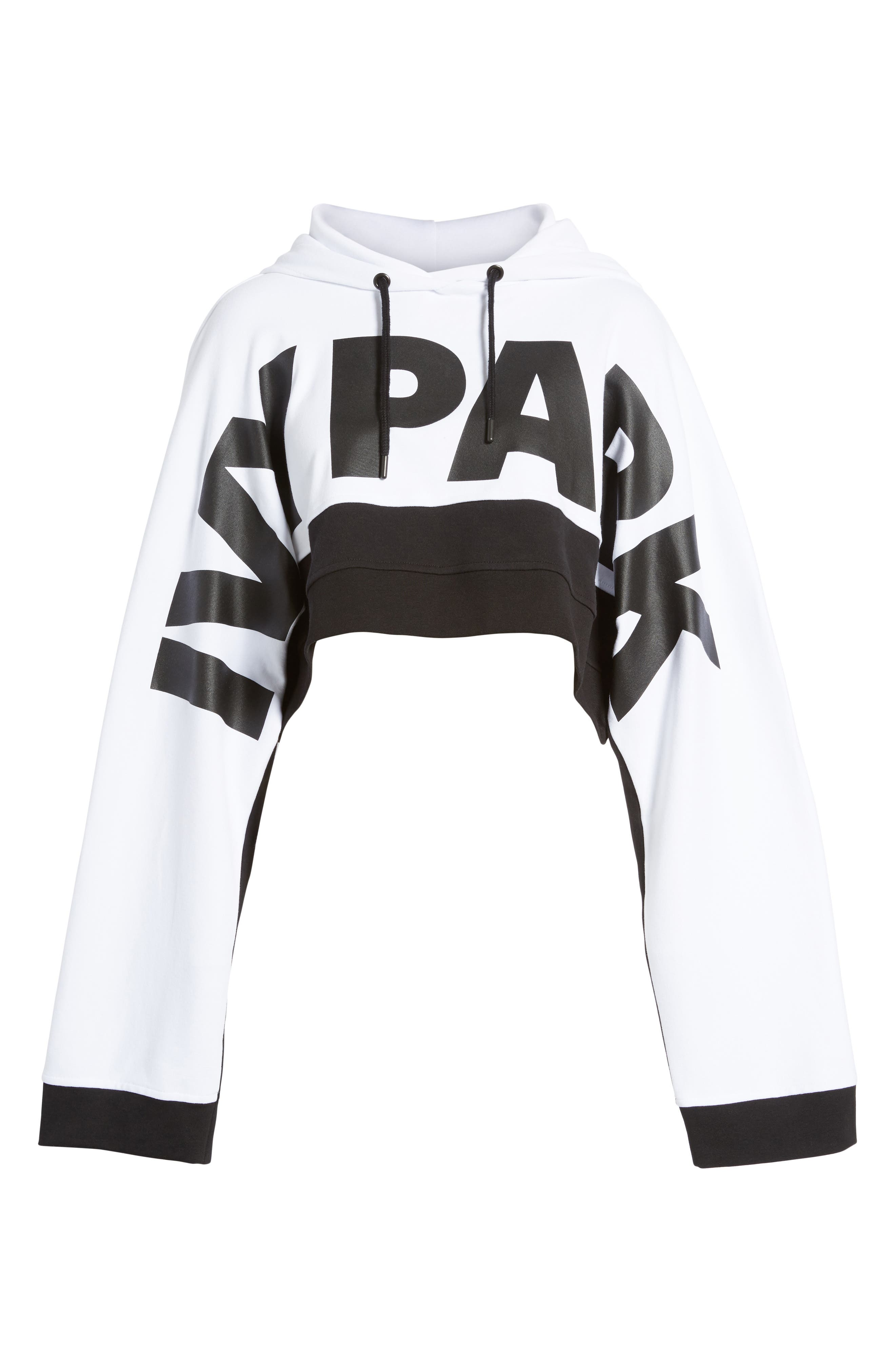 Crop Hoodie,                             Alternate thumbnail 7, color,                             White