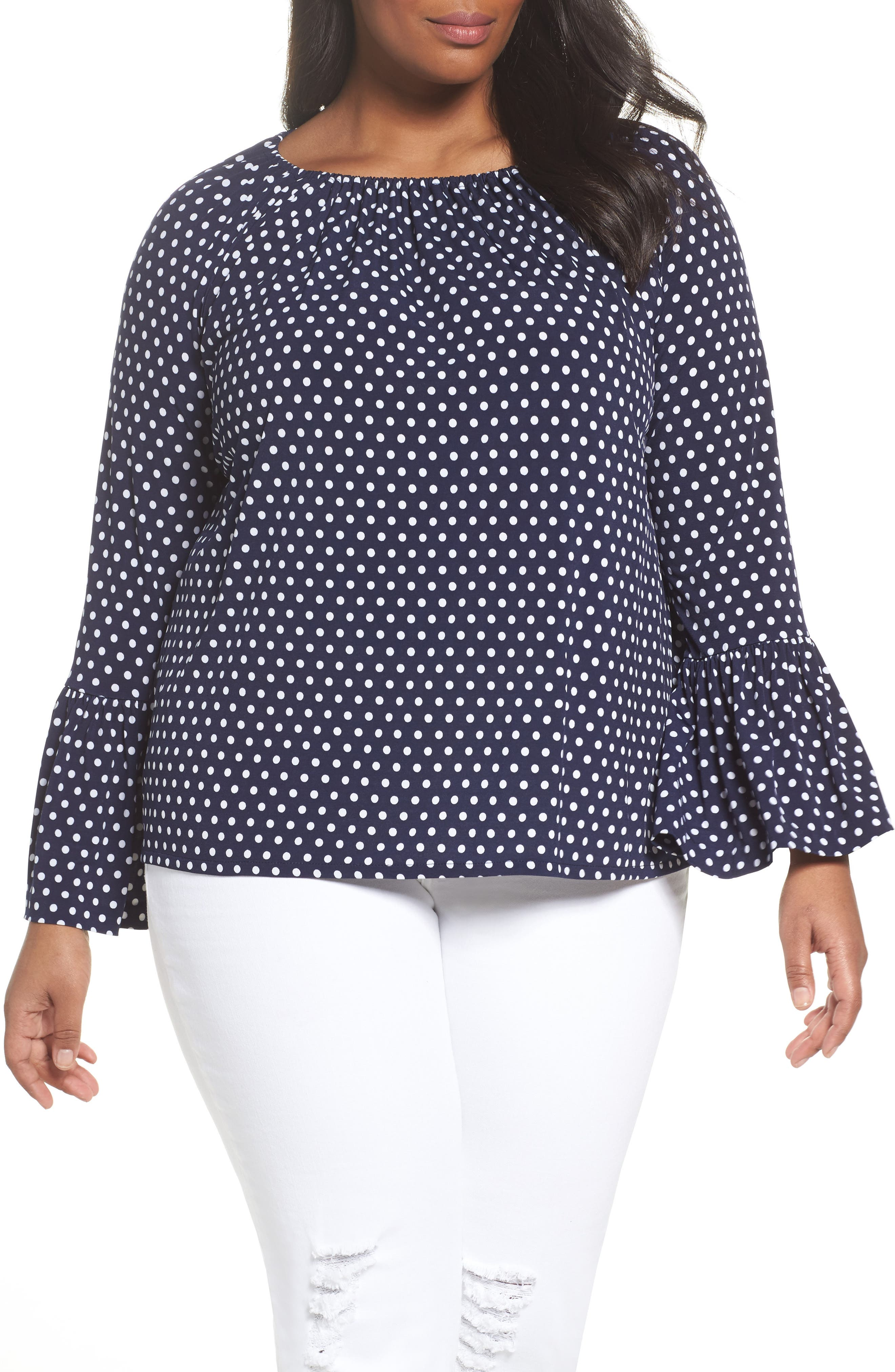 Simple Dot Peasant Top,                         Main,                         color, True Navy/ White