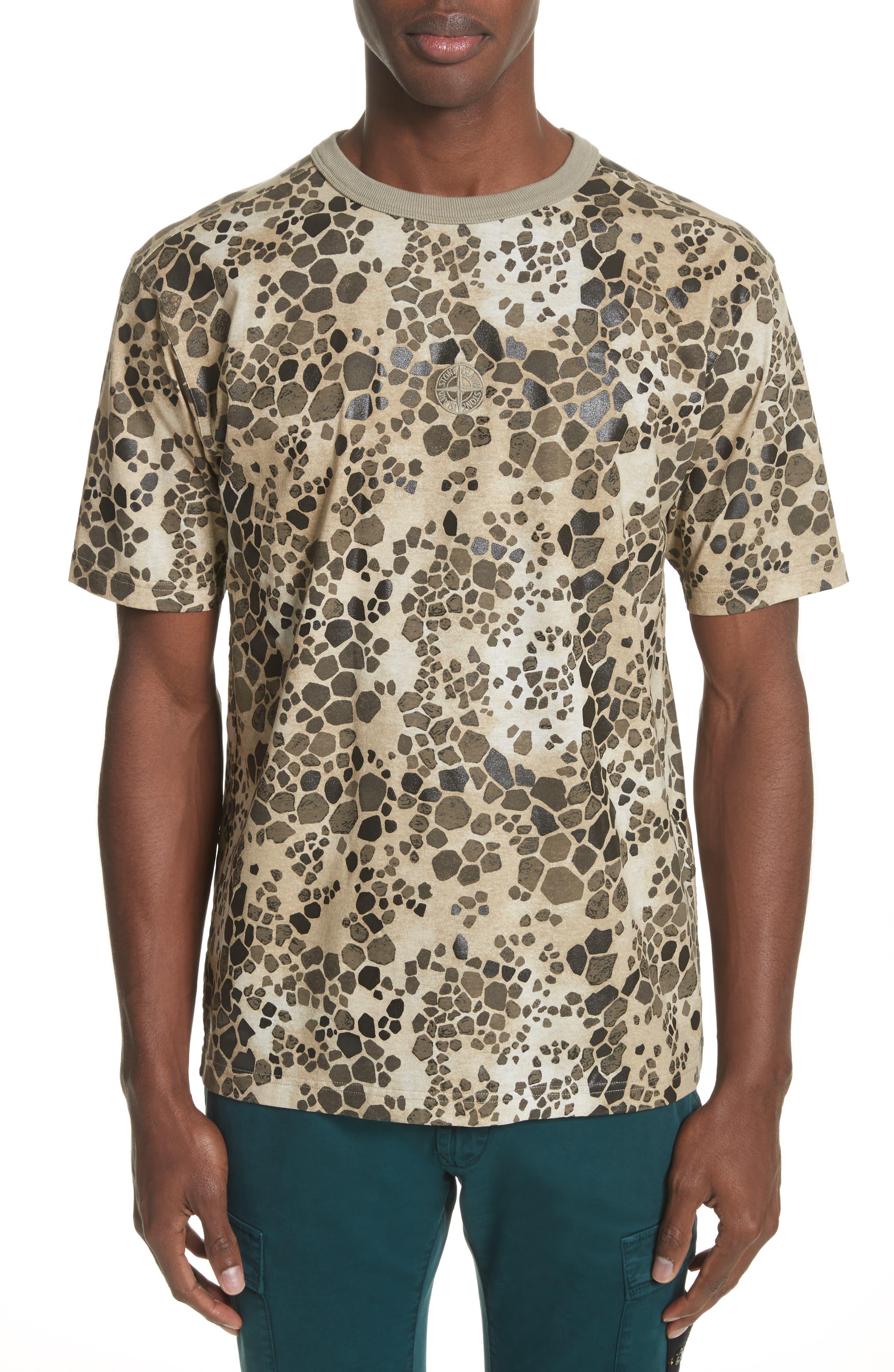 Camo Print T-Shirt,                         Main,                         color, Brown