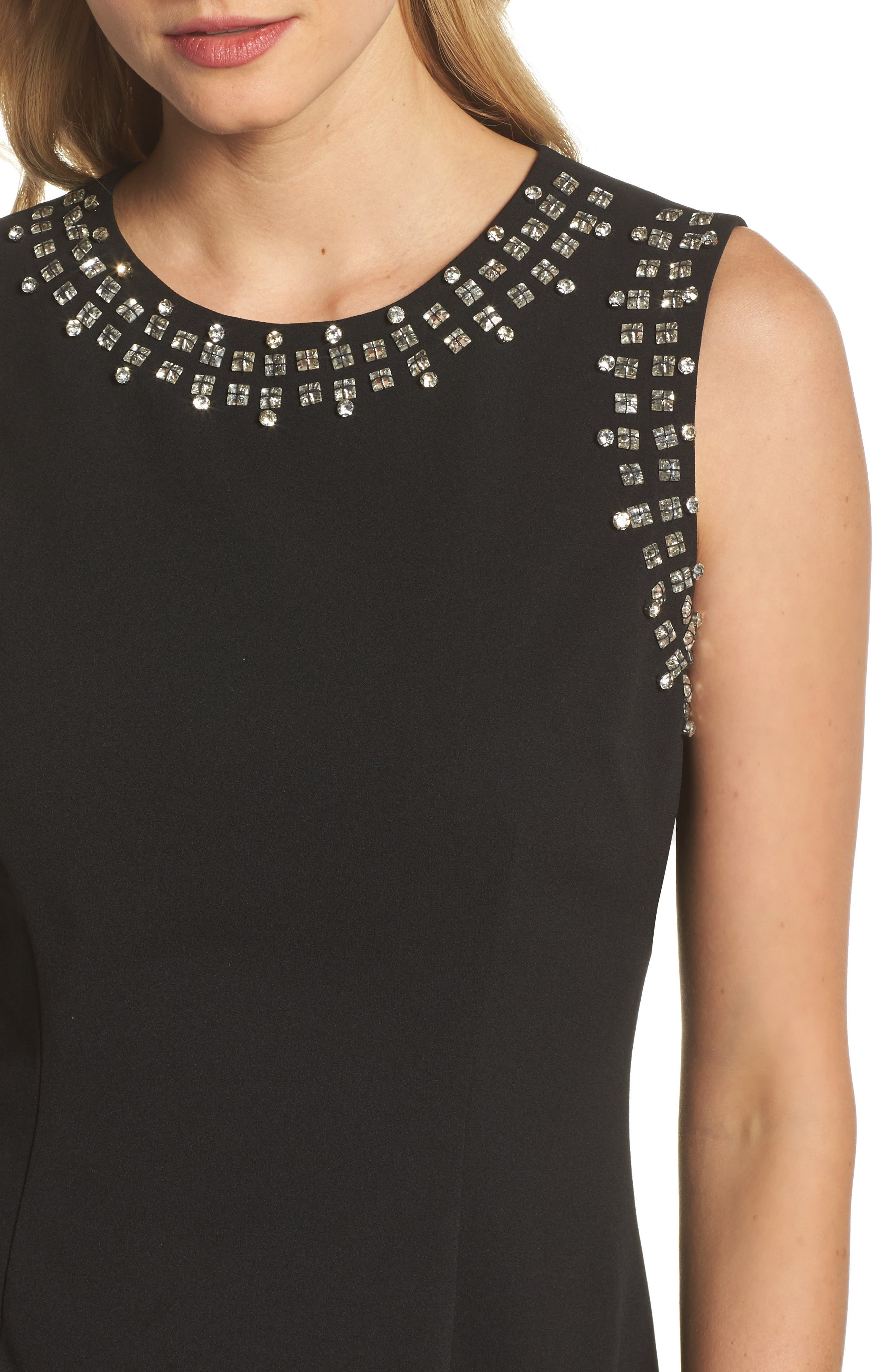 Bead Embellished Crepe Shift Dress,                             Alternate thumbnail 4, color,                             Black
