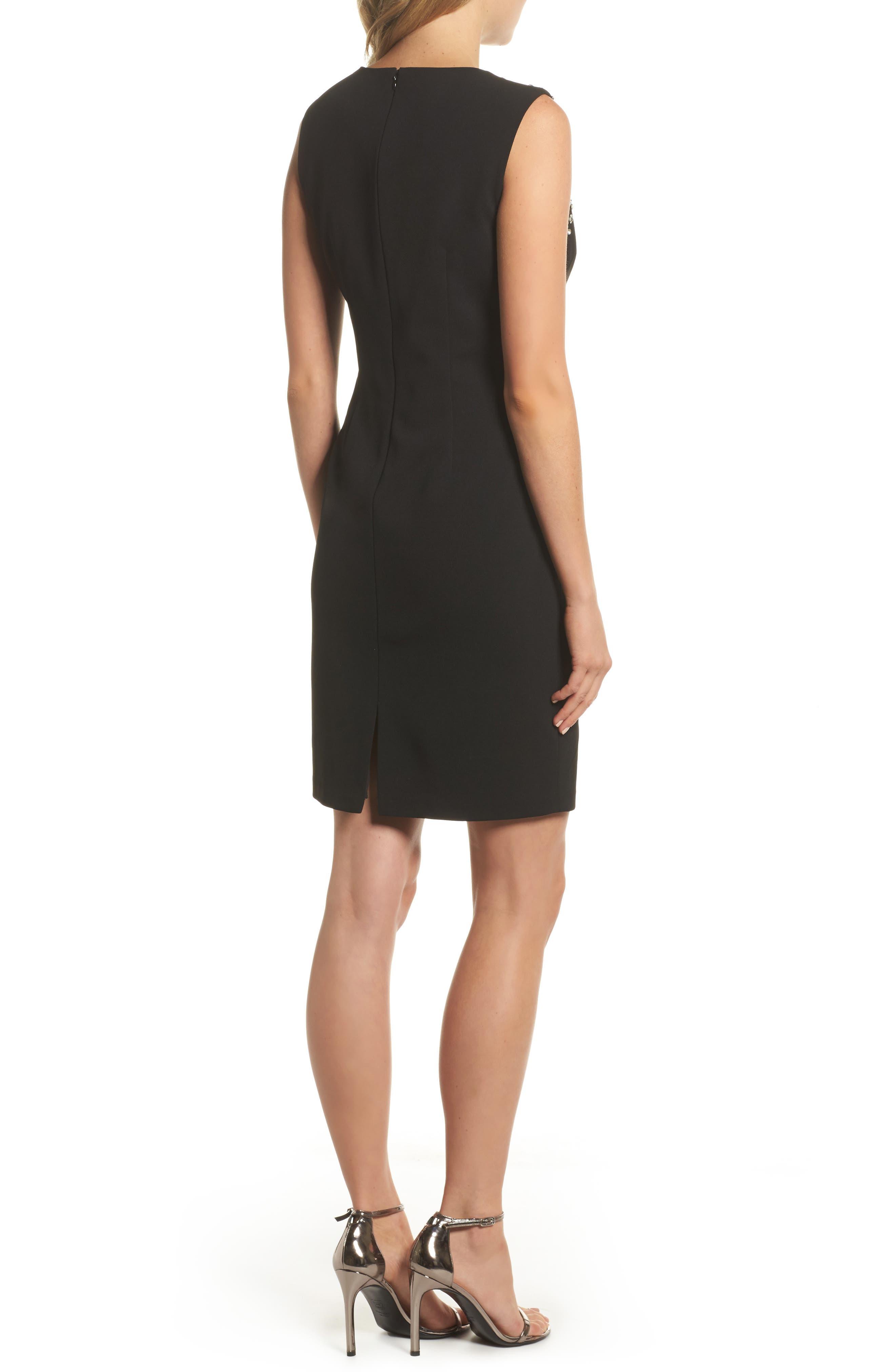 Bead Embellished Crepe Shift Dress,                             Alternate thumbnail 2, color,                             Black