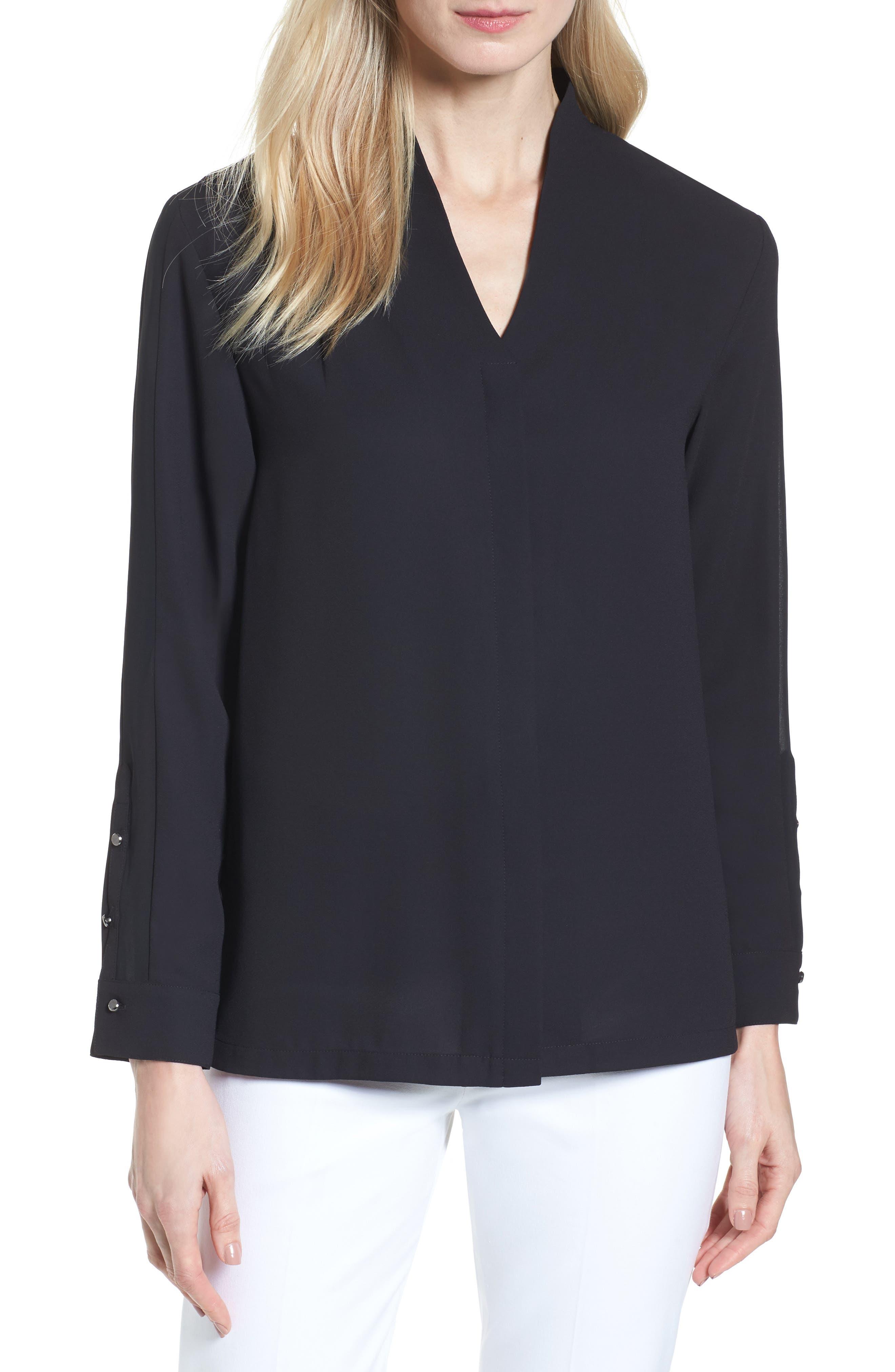 Split Collar Stripe Sleeve Blouse,                         Main,                         color, Black