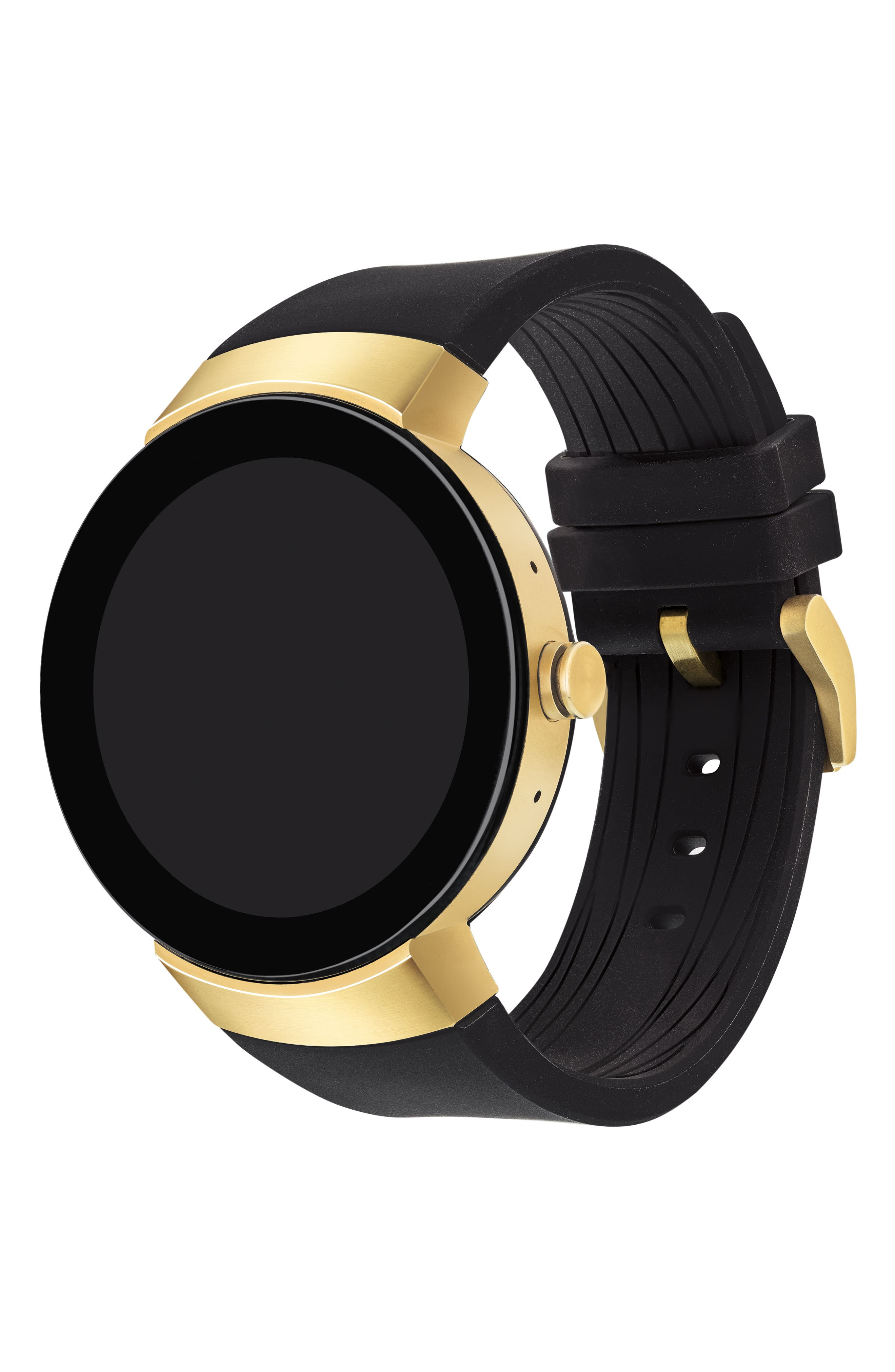 Connect Silicone Strap Smart Watch, 46mm,                             Alternate thumbnail 2, color,                             Black/ Gold
