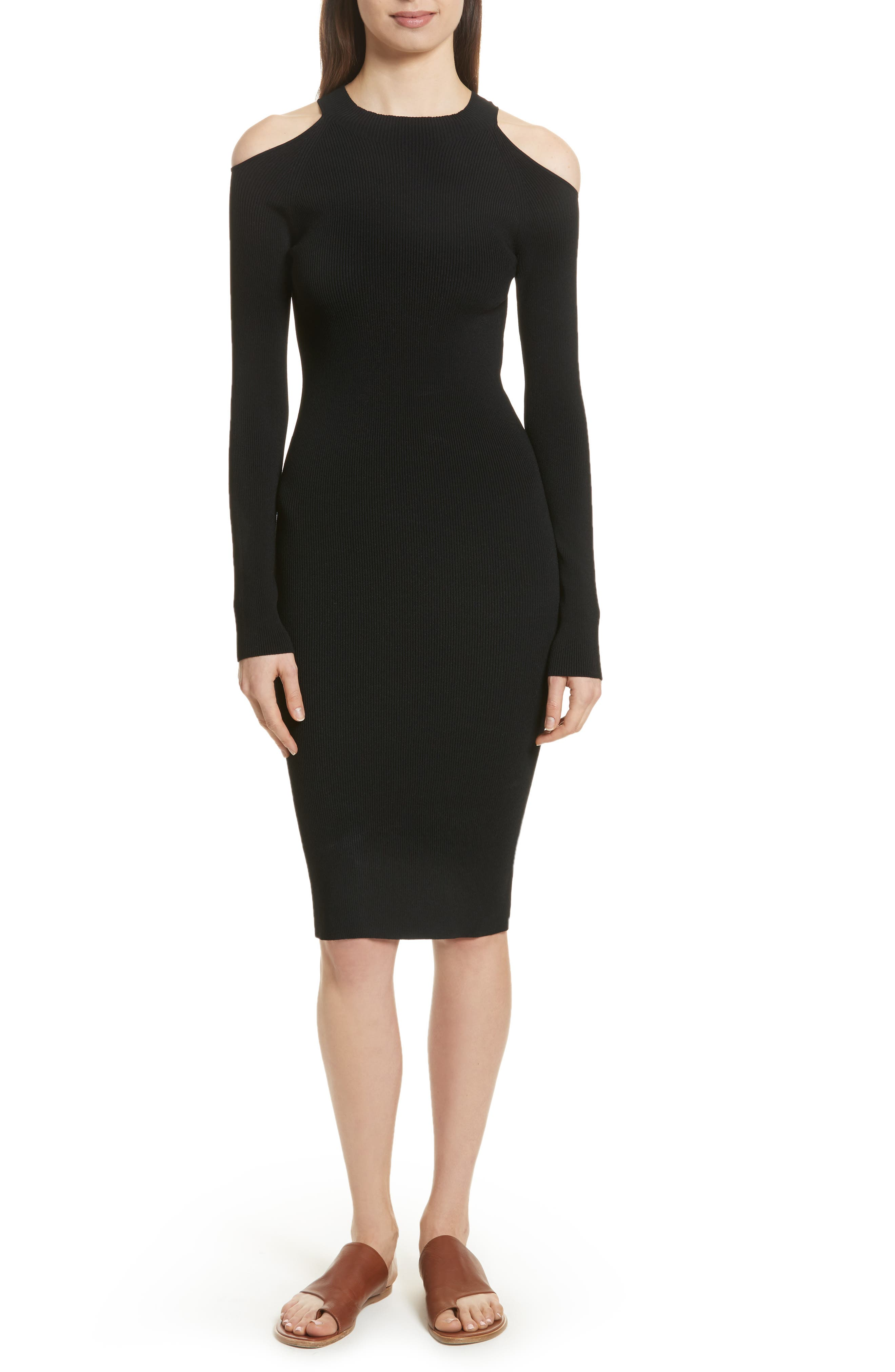Cold Shoulder Body-Con Dress,                         Main,                         color, Black