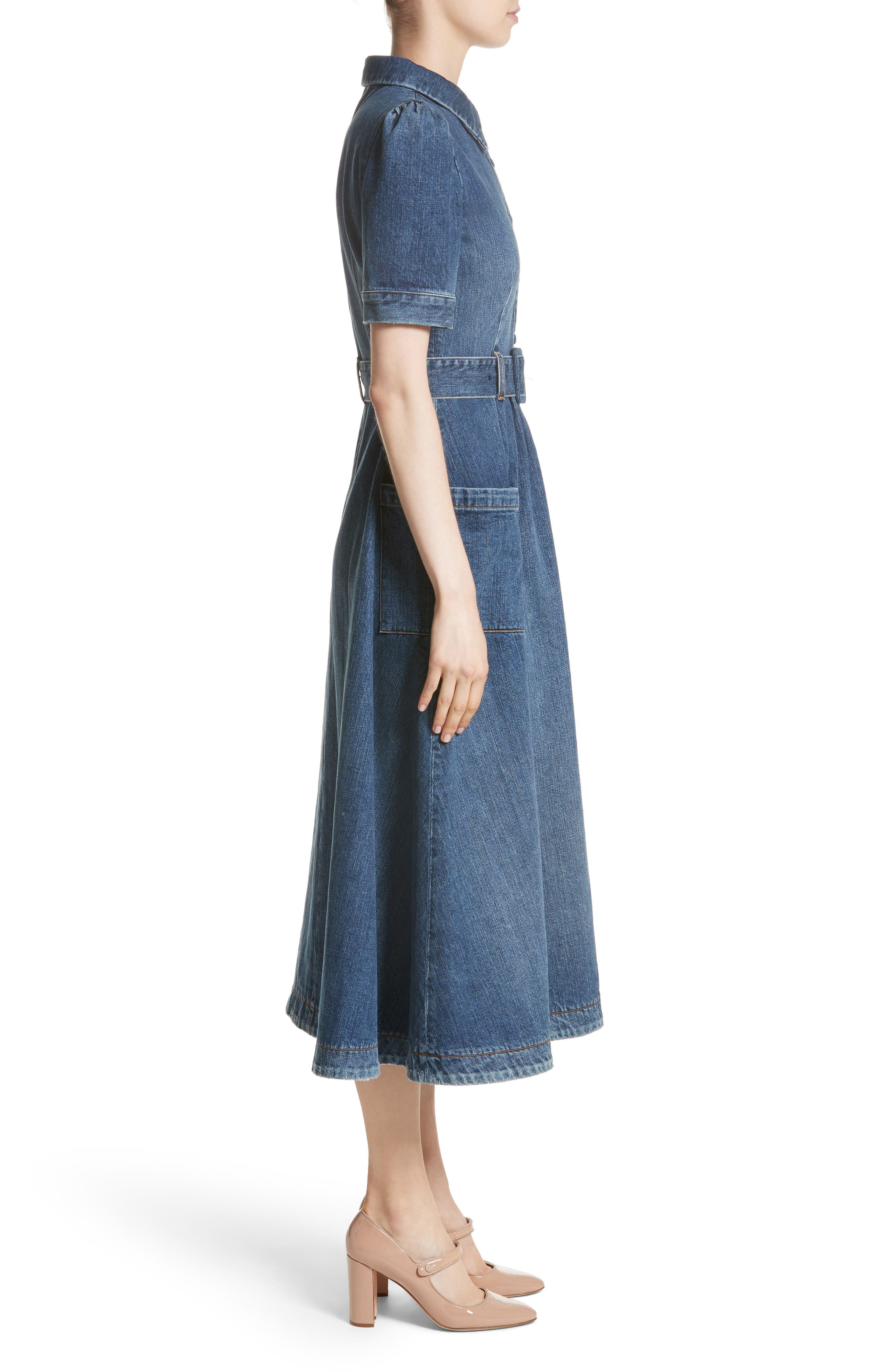 Denim Fit & Flare Midi Dress,                             Alternate thumbnail 4, color,                             Indigo