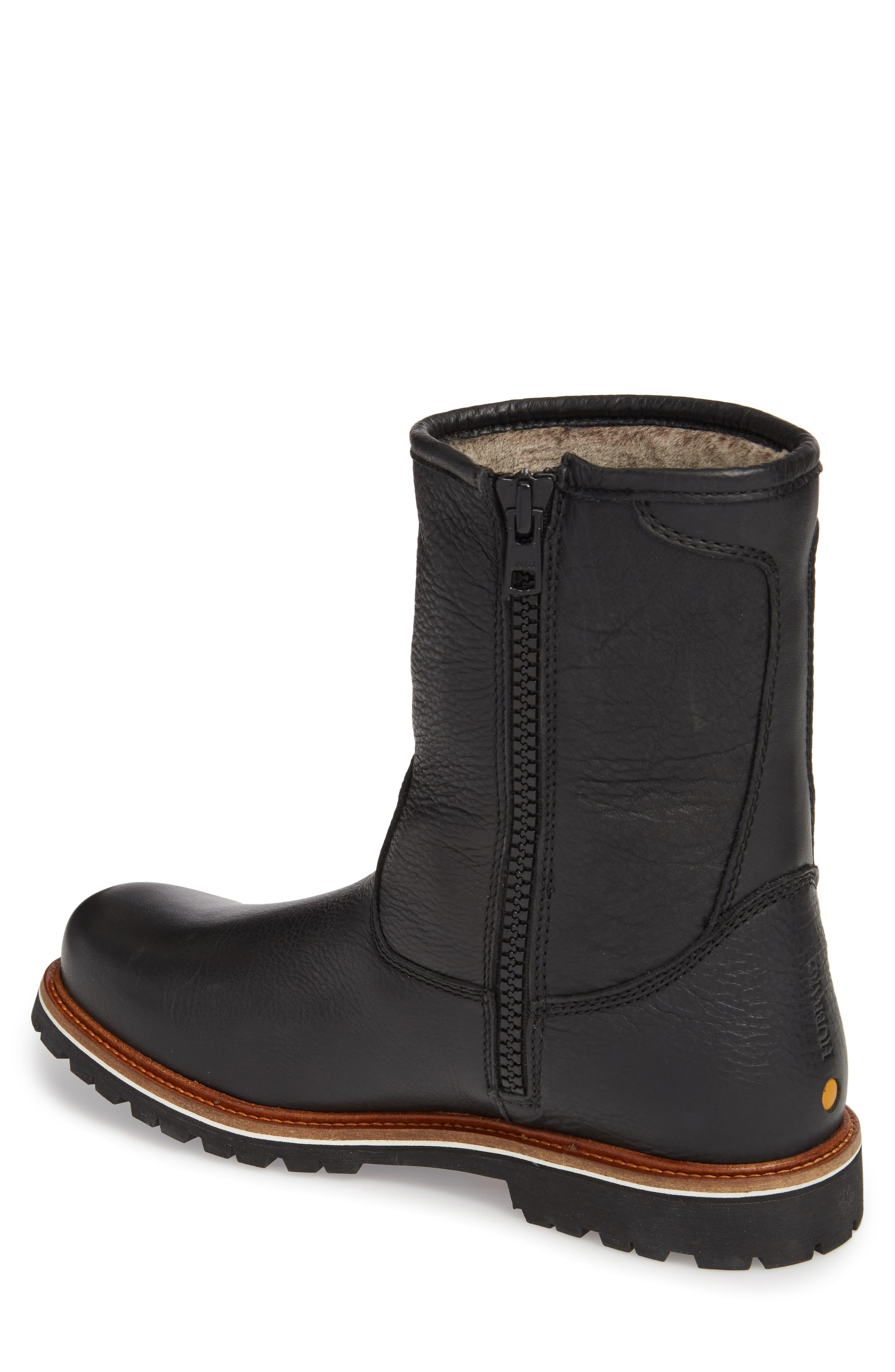 Snow Lodge Waterproof Gore-Tex<sup>®</sup> Genuine Shearling Lined Boot,                             Alternate thumbnail 2, color,                             Black Leather