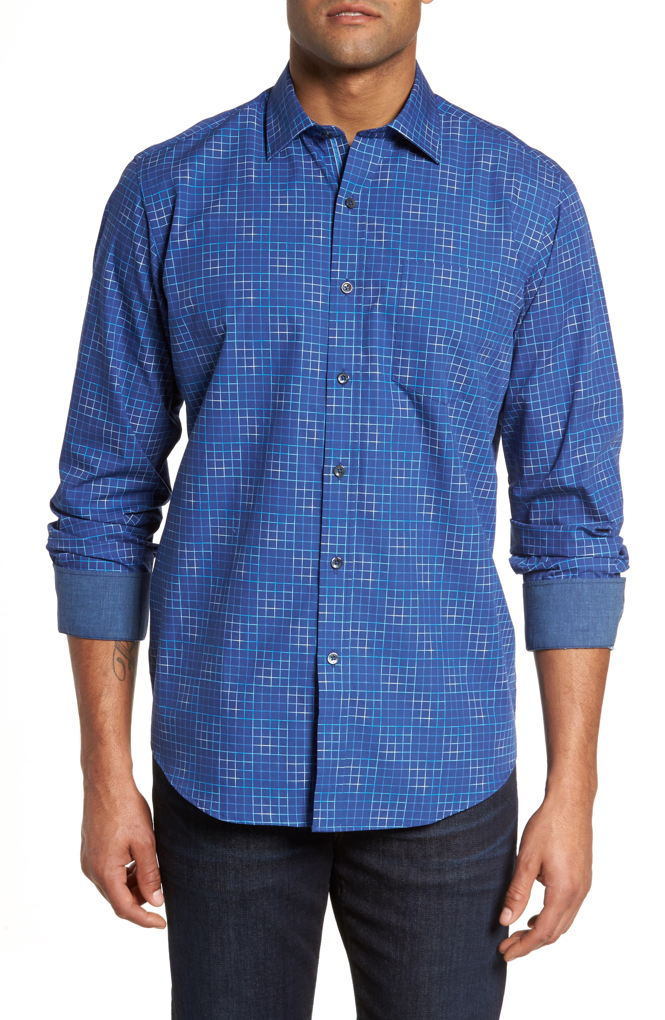 Classic Fit Check Sport Shirt,                         Main,                         color, Royal