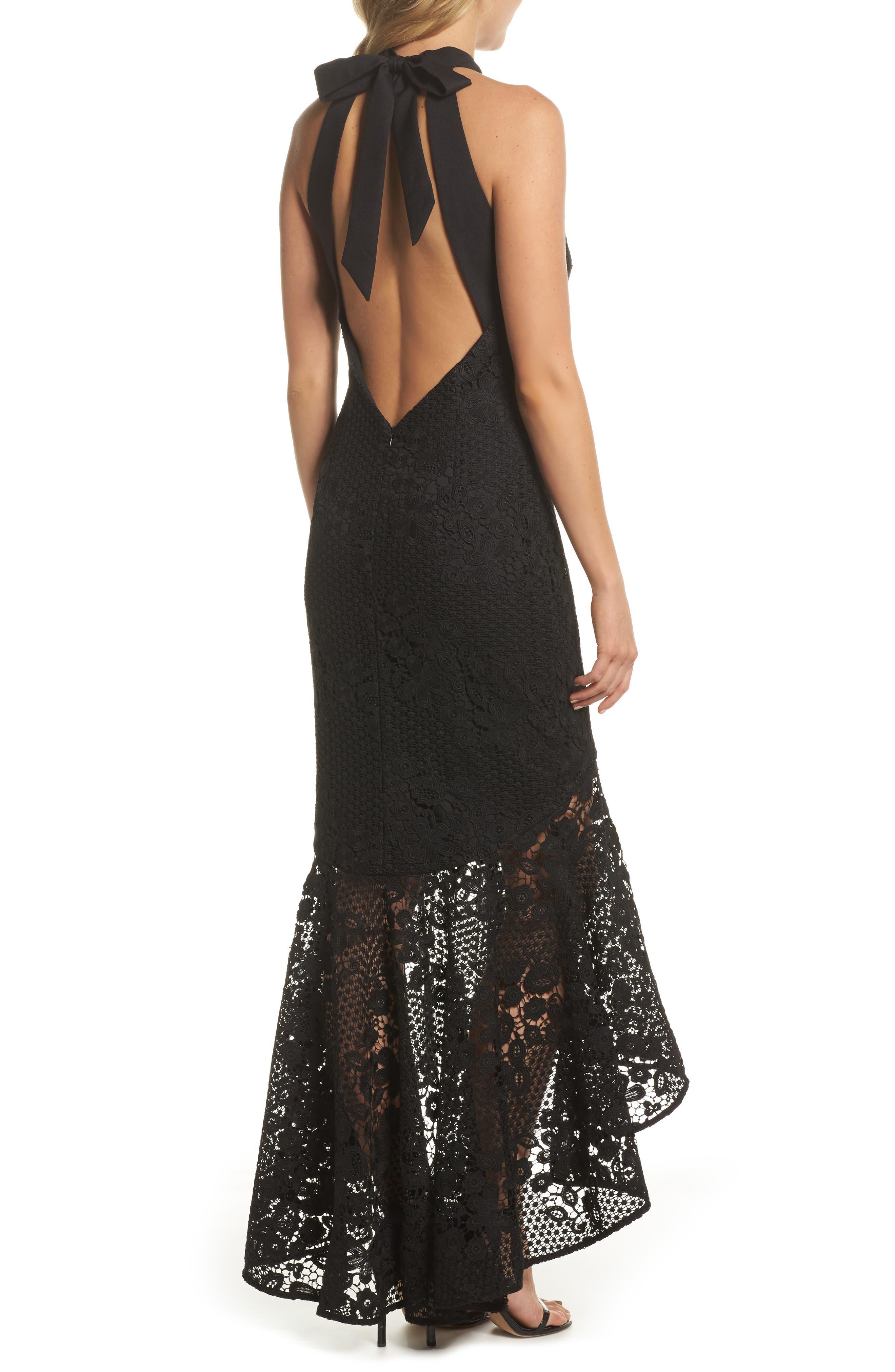 Pascal Lace Halter Neck Gown,                             Alternate thumbnail 2, color,                             Black