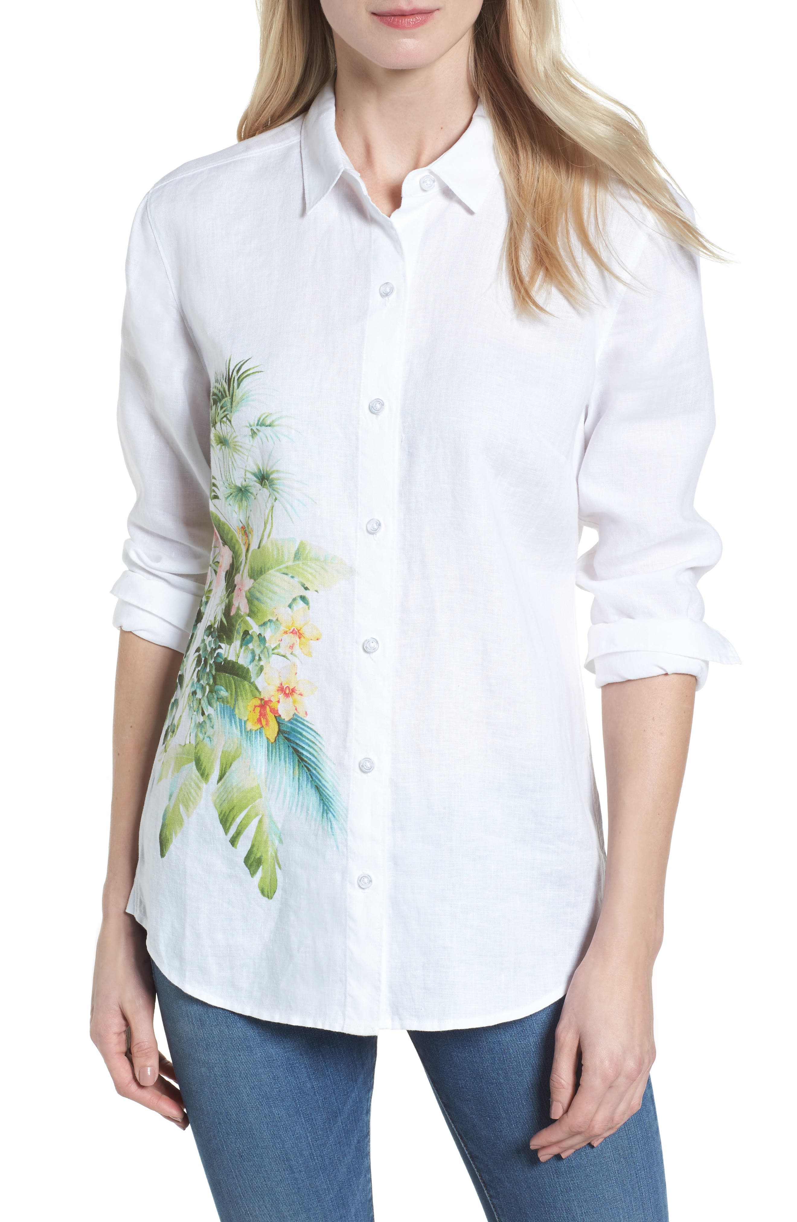 Queen Palms Linen Shirt,                         Main,                         color, White