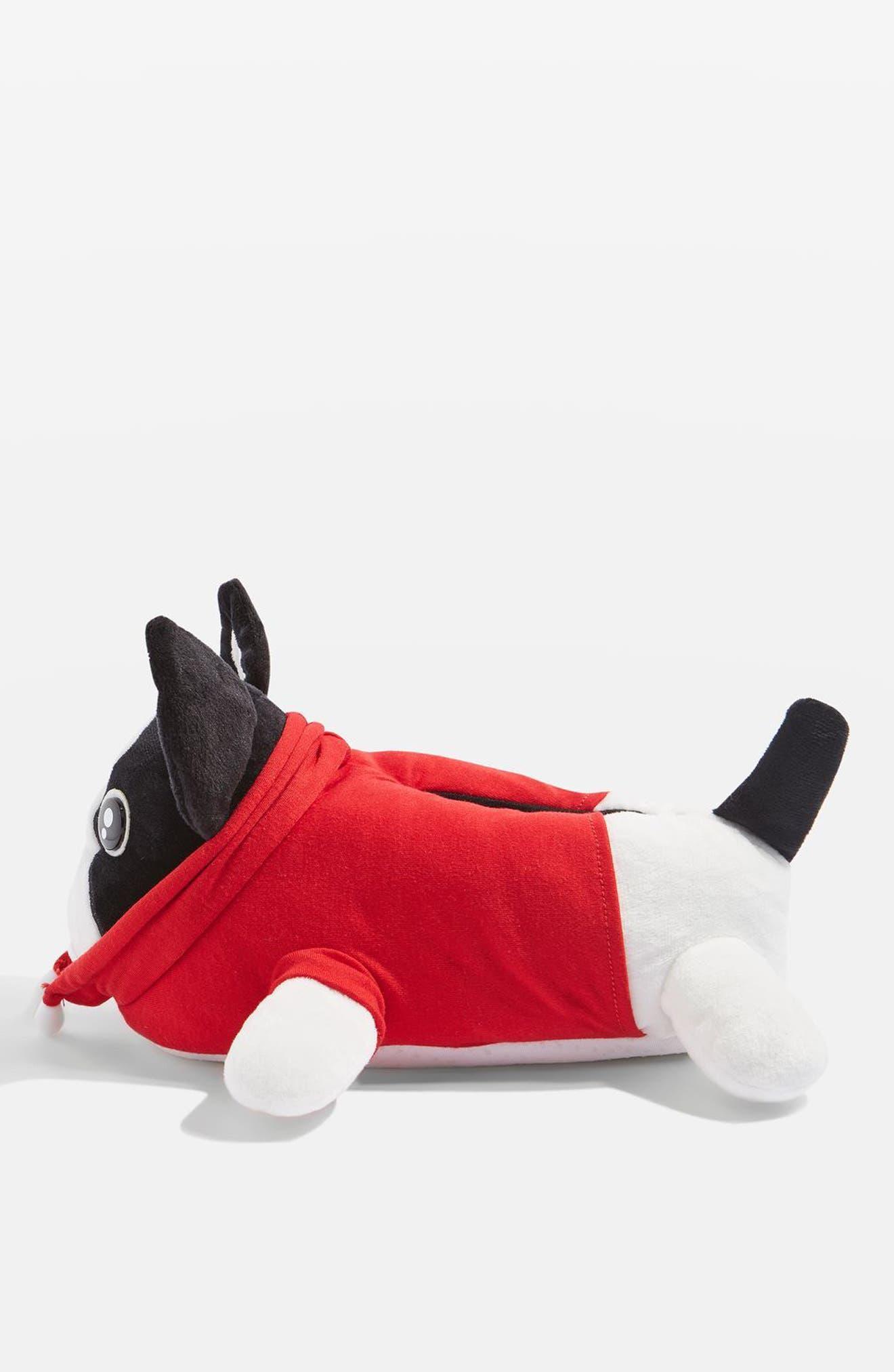 Monty Bulldog Slippers,                             Alternate thumbnail 2, color,                             Red Multi