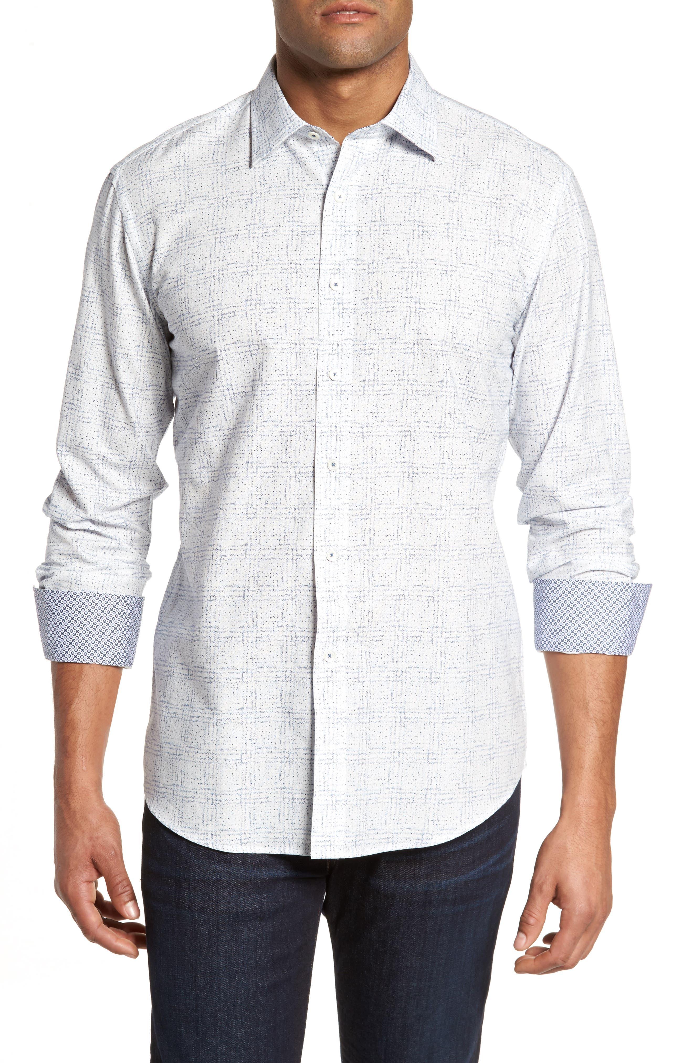 Shaped Fit Print Sport Shirt,                         Main,                         color, Petrol