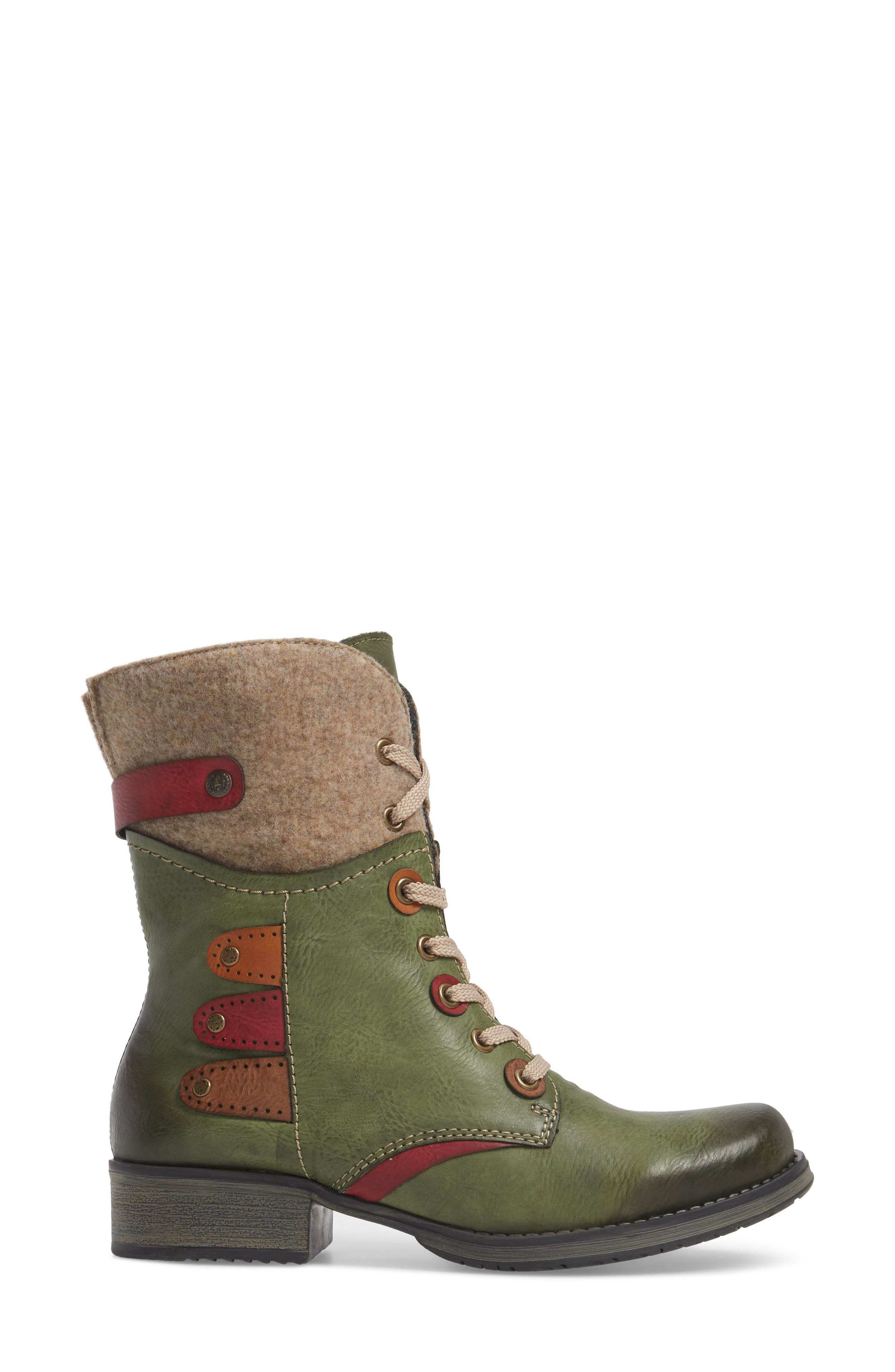 Fergie 43 Lace-Up Boot,                             Alternate thumbnail 3, color,                             Leaf Faux Leather
