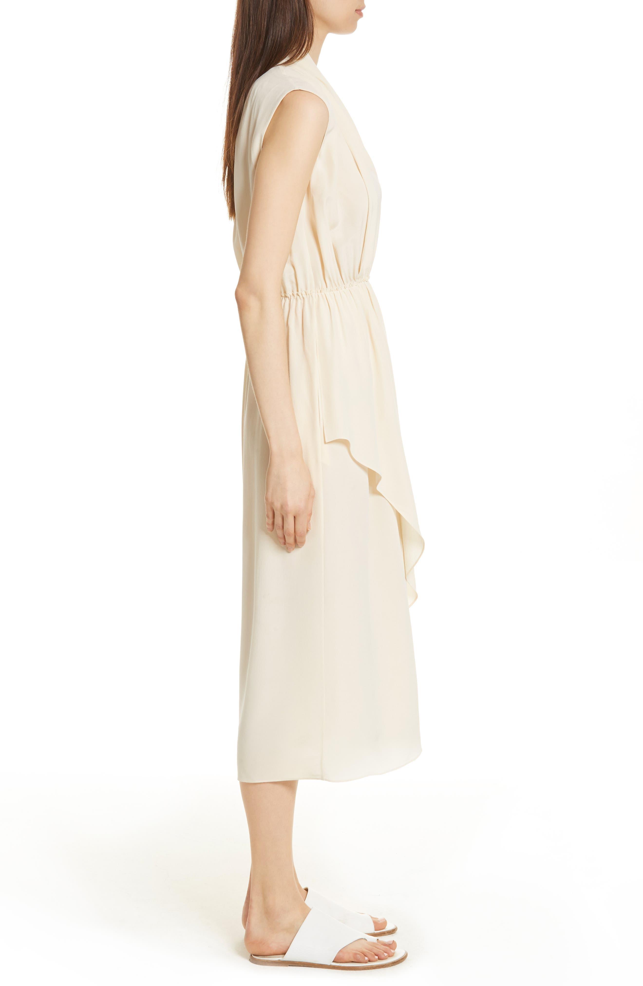 Draped Silk Cross Front Dress,                             Alternate thumbnail 3, color,                             Buttercream