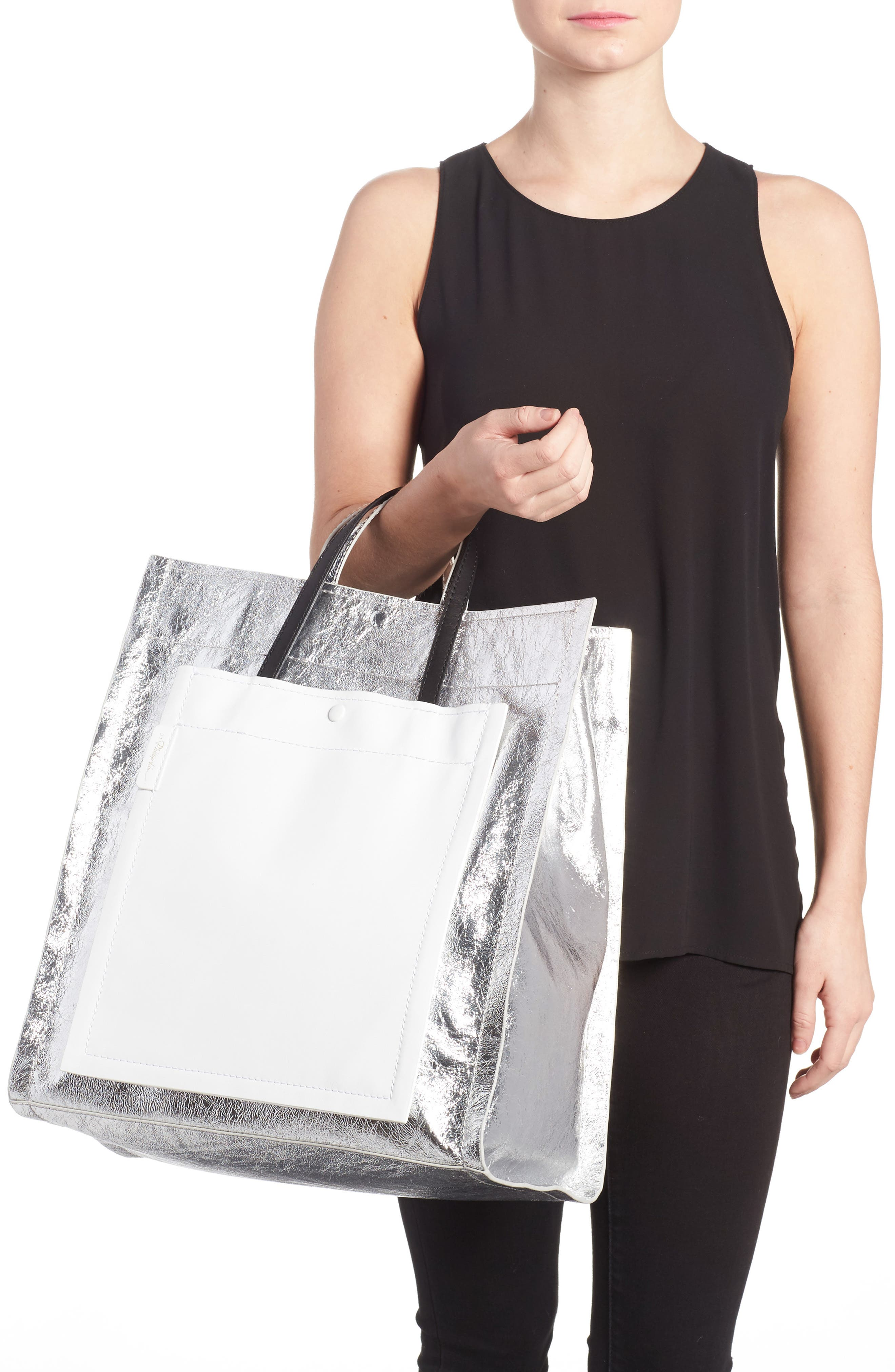 Leather Accordion Tote,                             Alternate thumbnail 2, color,                             Silver