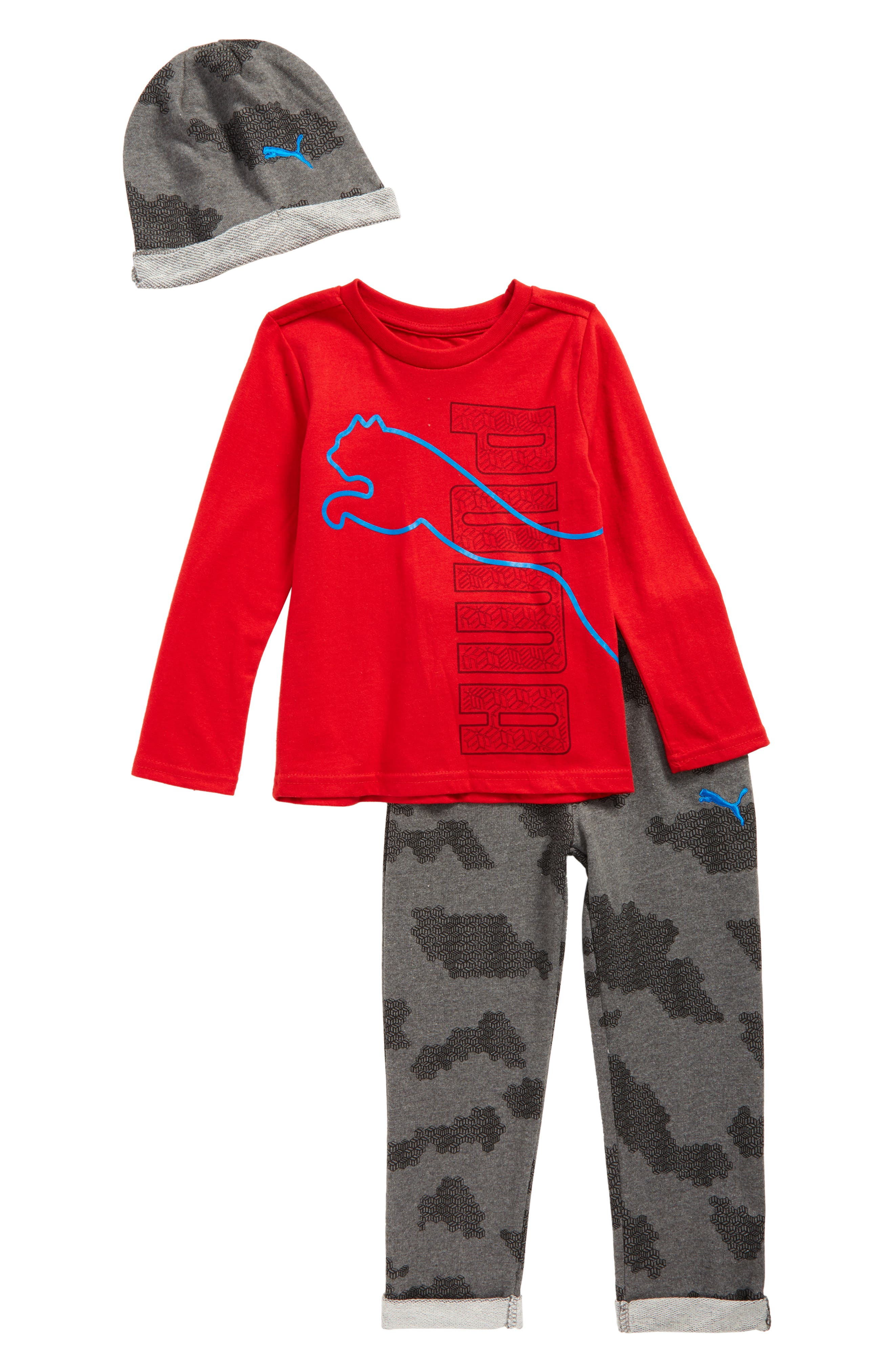 PUMA Hat, T-Shirt & Sweatpants Set (Toddler Boys & Little Boys)