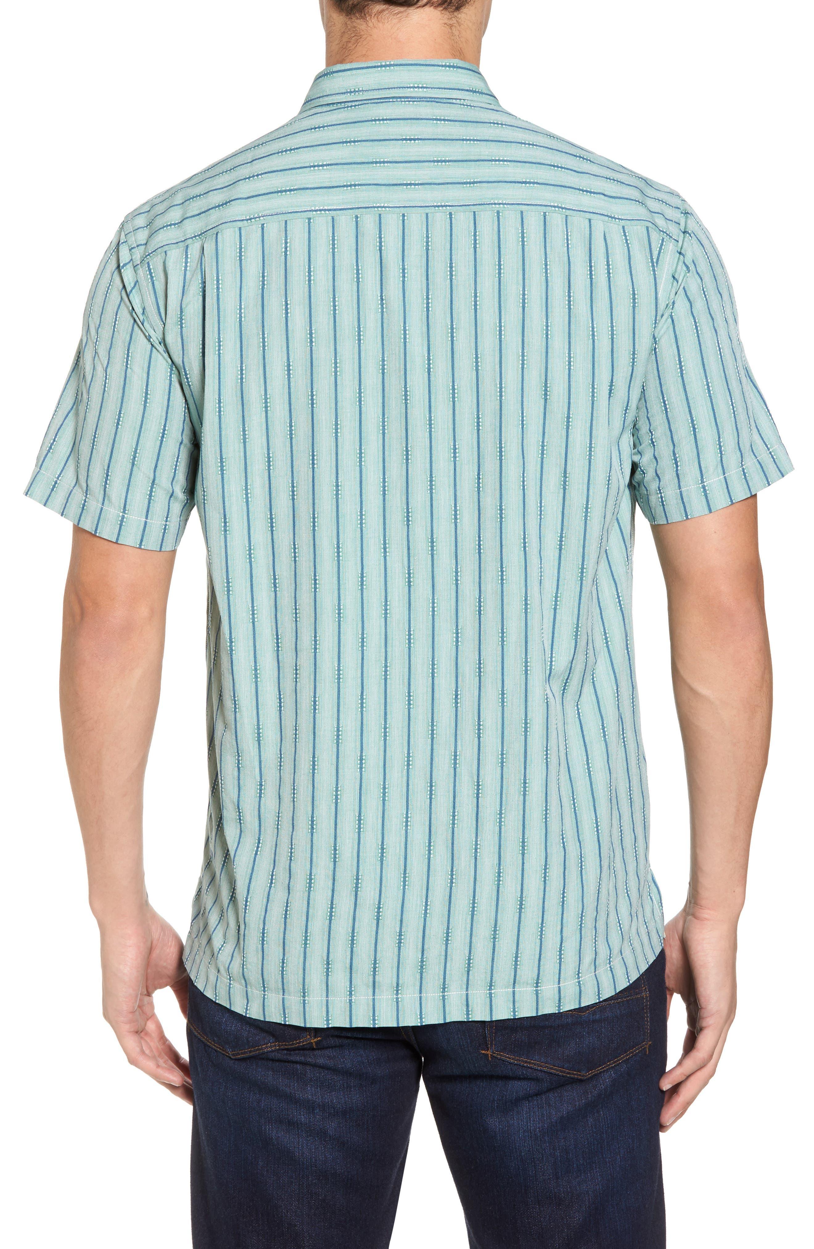Florida Geometric Line Silk Blend Camp Shirt,                             Alternate thumbnail 2, color,                             Deep Grass Green
