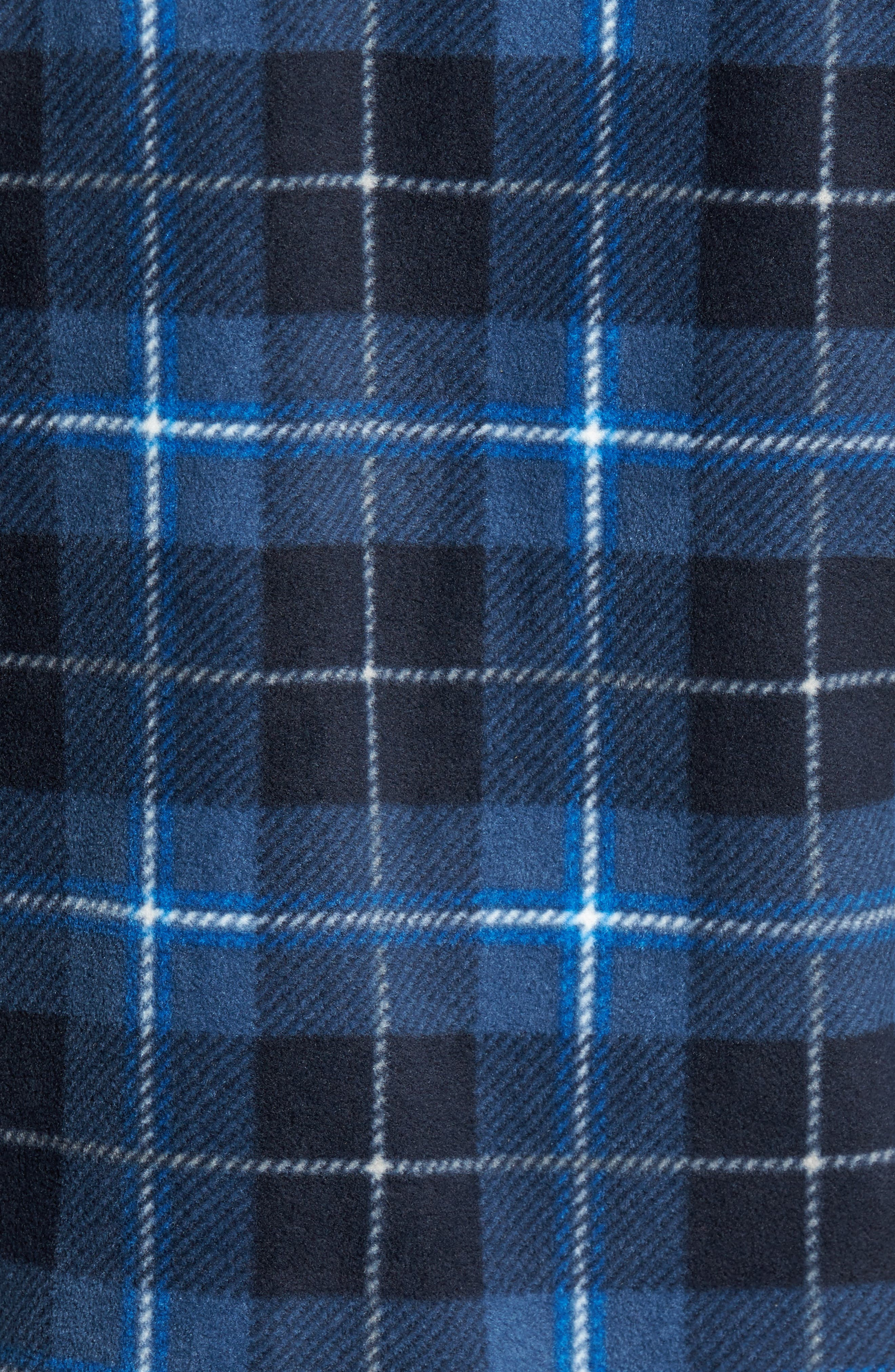 Glacier Plaid Fleece Flannel Shirt,                             Alternate thumbnail 5, color,                             Ocean