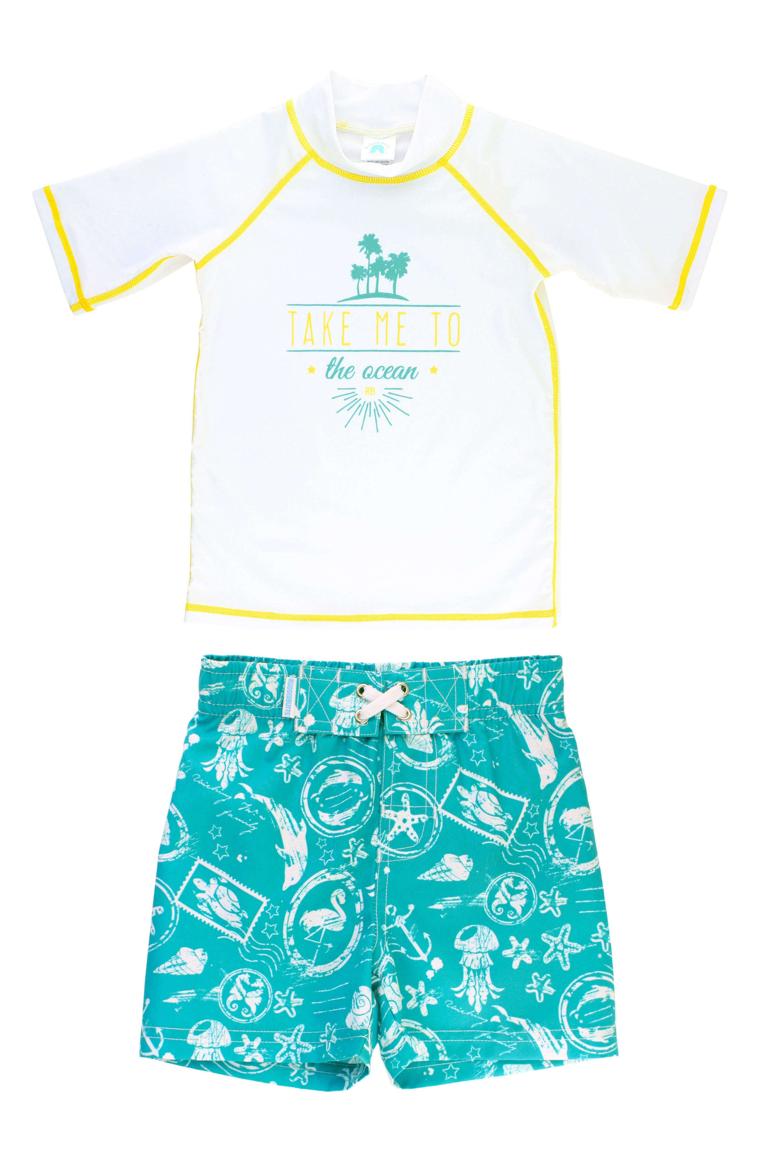Main Image - RuggedButts Take Me to the Ocean Rashguard & Board Shorts Set (Toddler Boys & Little Boys)