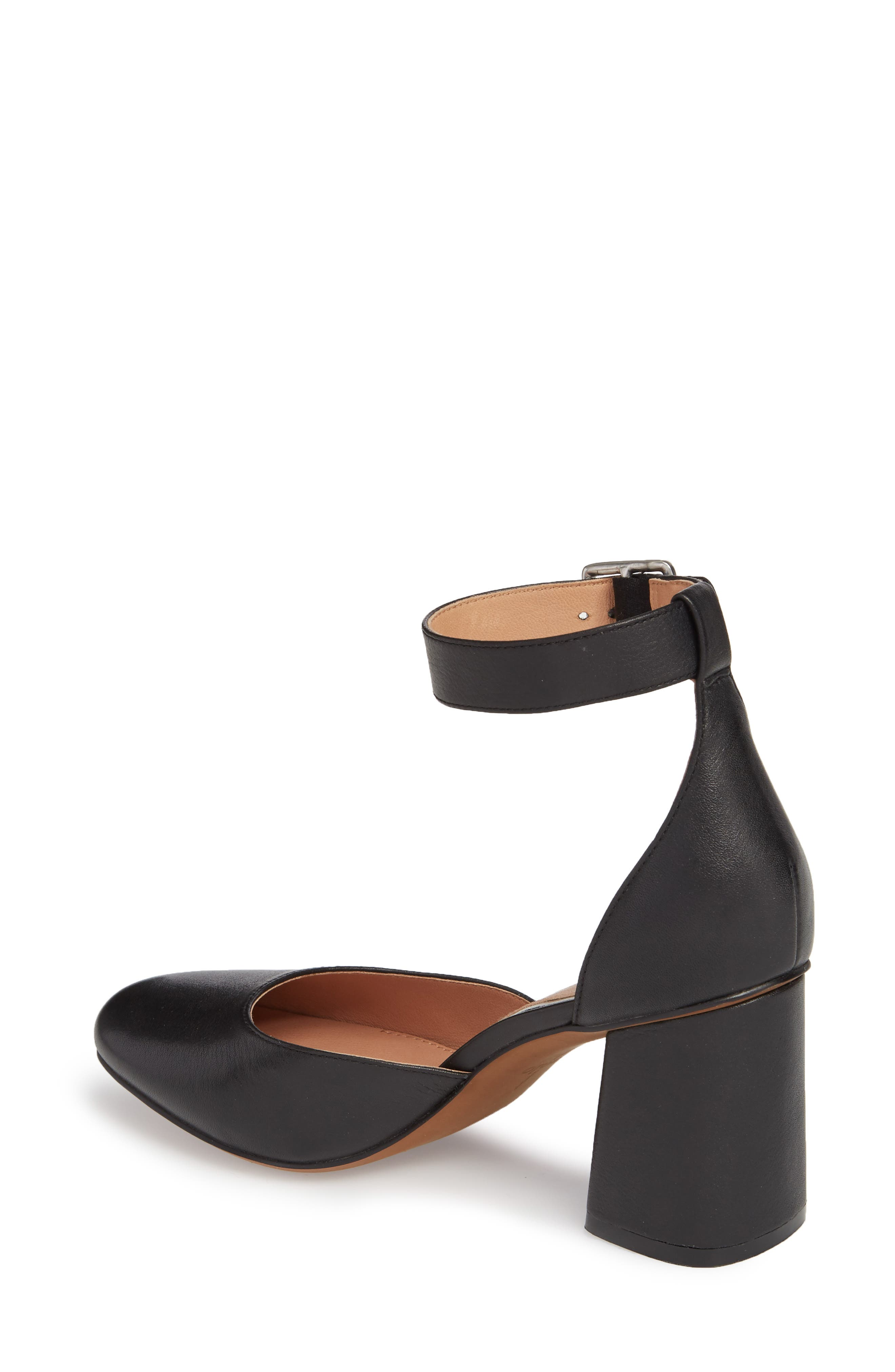Maya Ankle Strap Pump,                             Alternate thumbnail 2, color,                             Black Leather