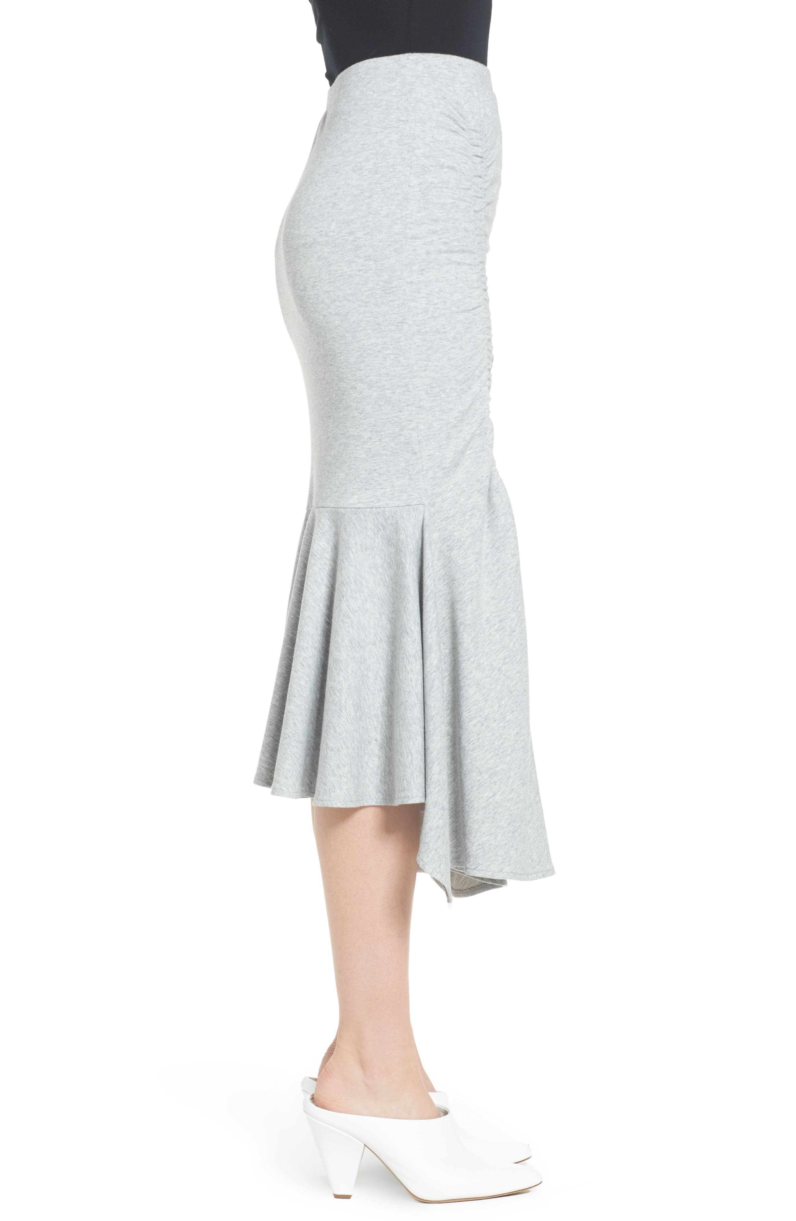 Ruched Fluted Midi Skirt,                             Alternate thumbnail 3, color,                             Grey Heather