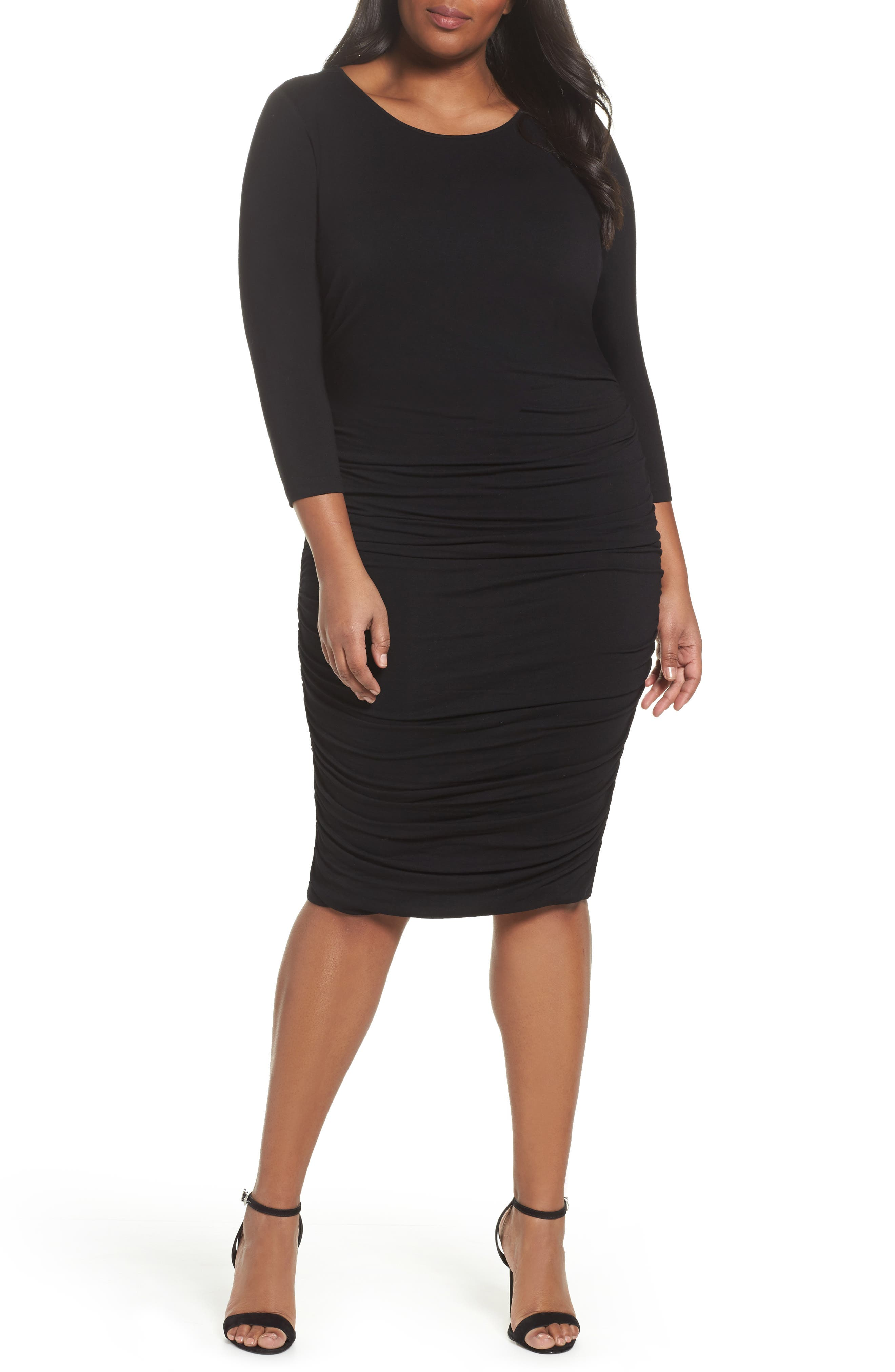 Side Ruched Sheath Dress,                         Main,                         color, Rich Black