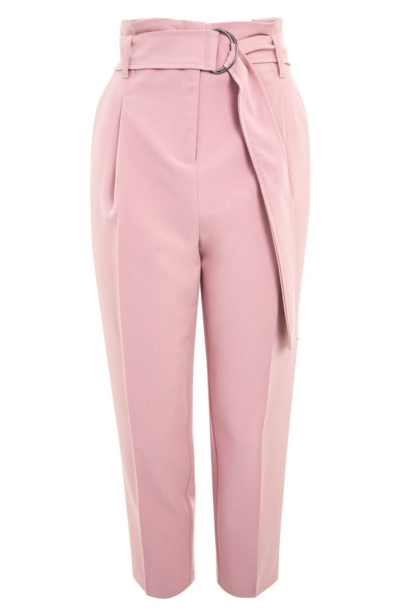 Paperbag Waist Trousers,                             Alternate thumbnail 4, color,                             Pink