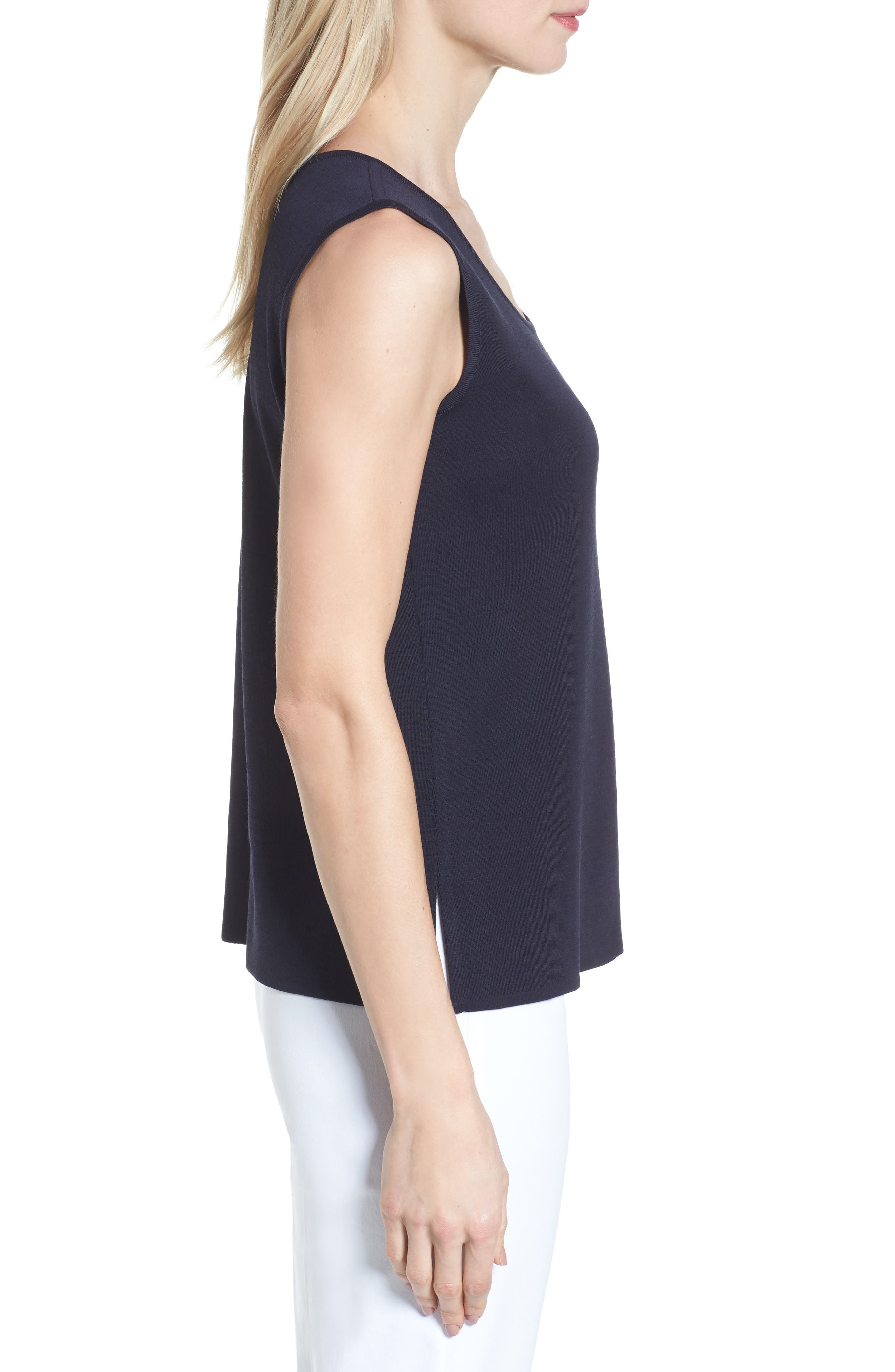 Scoop Neck Knit Tank,                             Alternate thumbnail 3, color,                             Navy