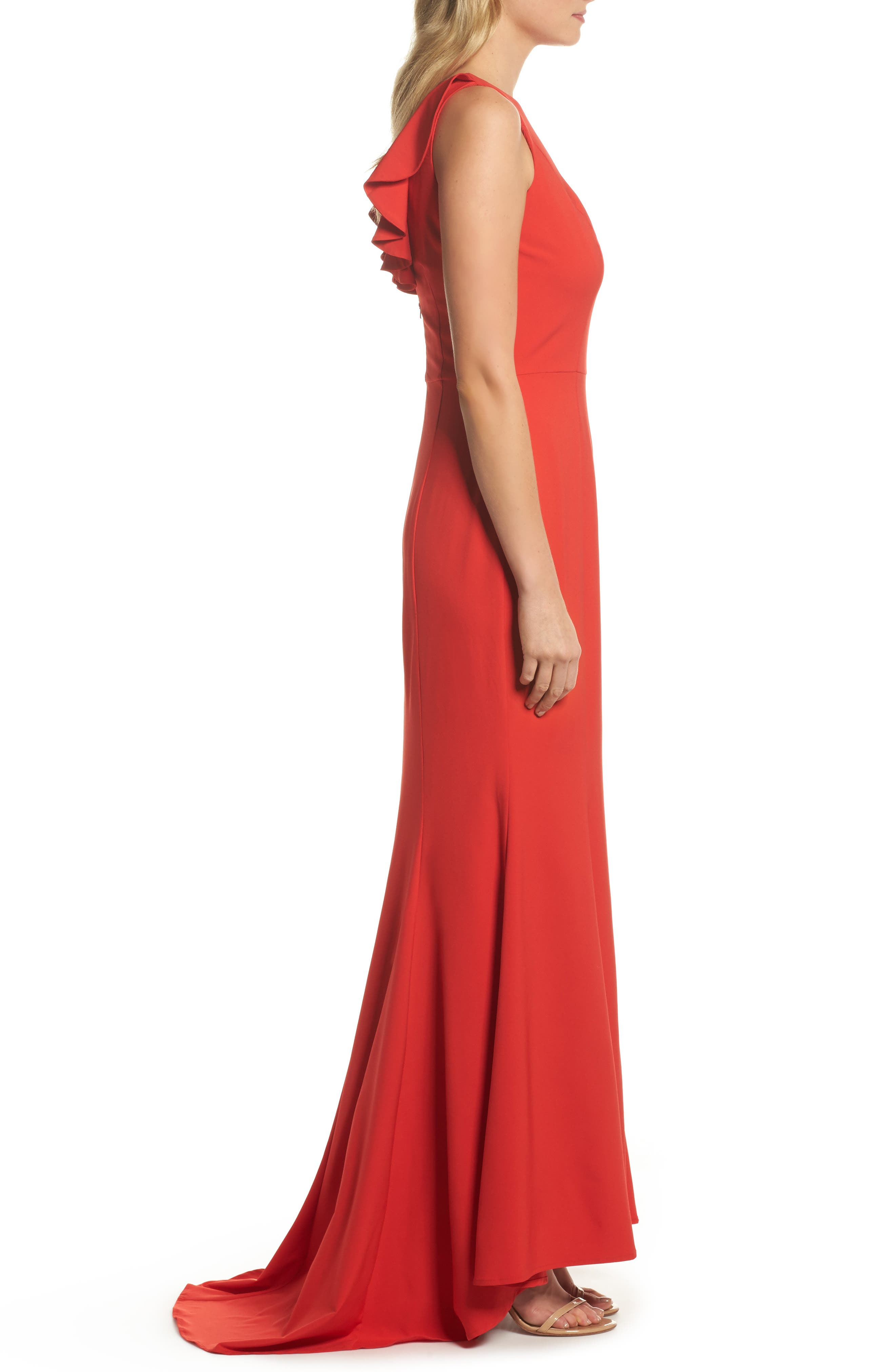 Jemima Ruffle Back Mermaid Gown,                             Alternate thumbnail 3, color,                             Red